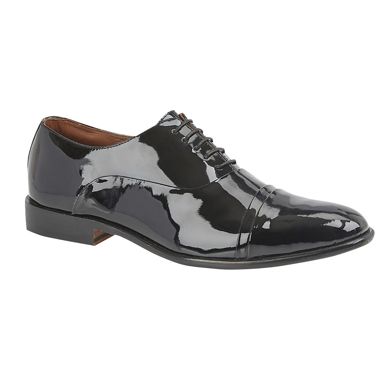 Kensington Classics Mens Capped Oxford Tie Patent Leather Shoes (13 UK) (Black)