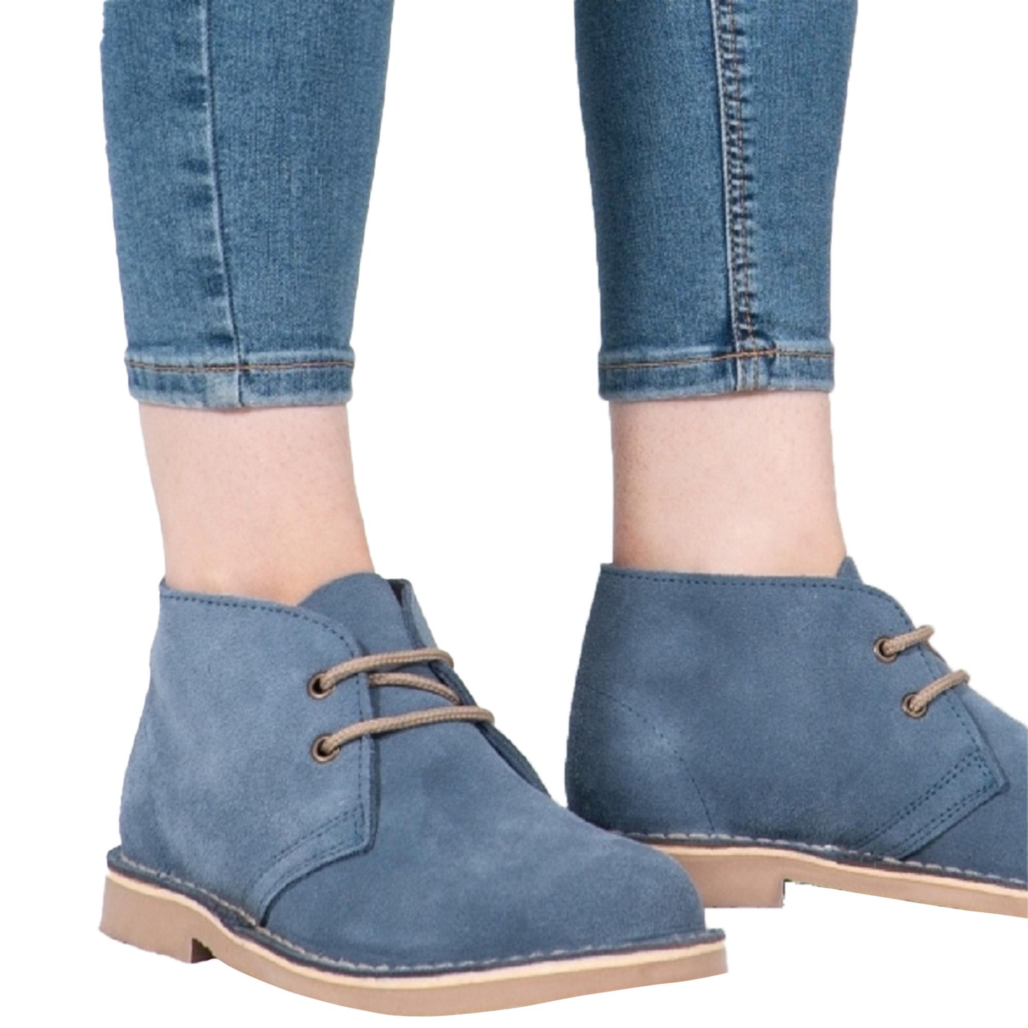 Roamers Womens/Ladies Real Suede Unlined Desert Boots (4 UK) (Denim Blue)