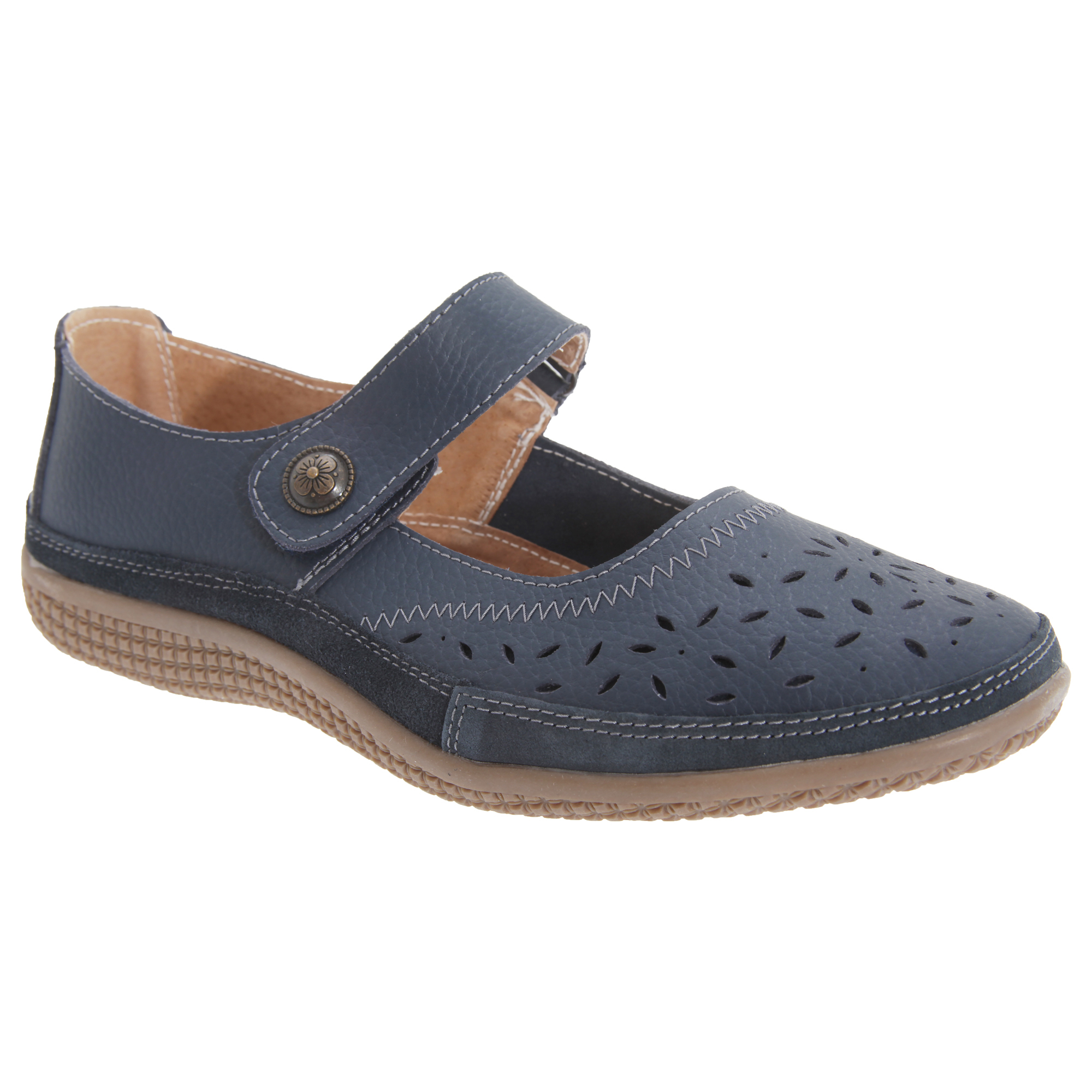 e87906060f1 Boulevard Womens ladies Wide Fitting Touch Fastening Bar Shoes flats  Utdf419 11 6 UK Navy. About this product. Picture 1 of 2  Picture 2 of 2