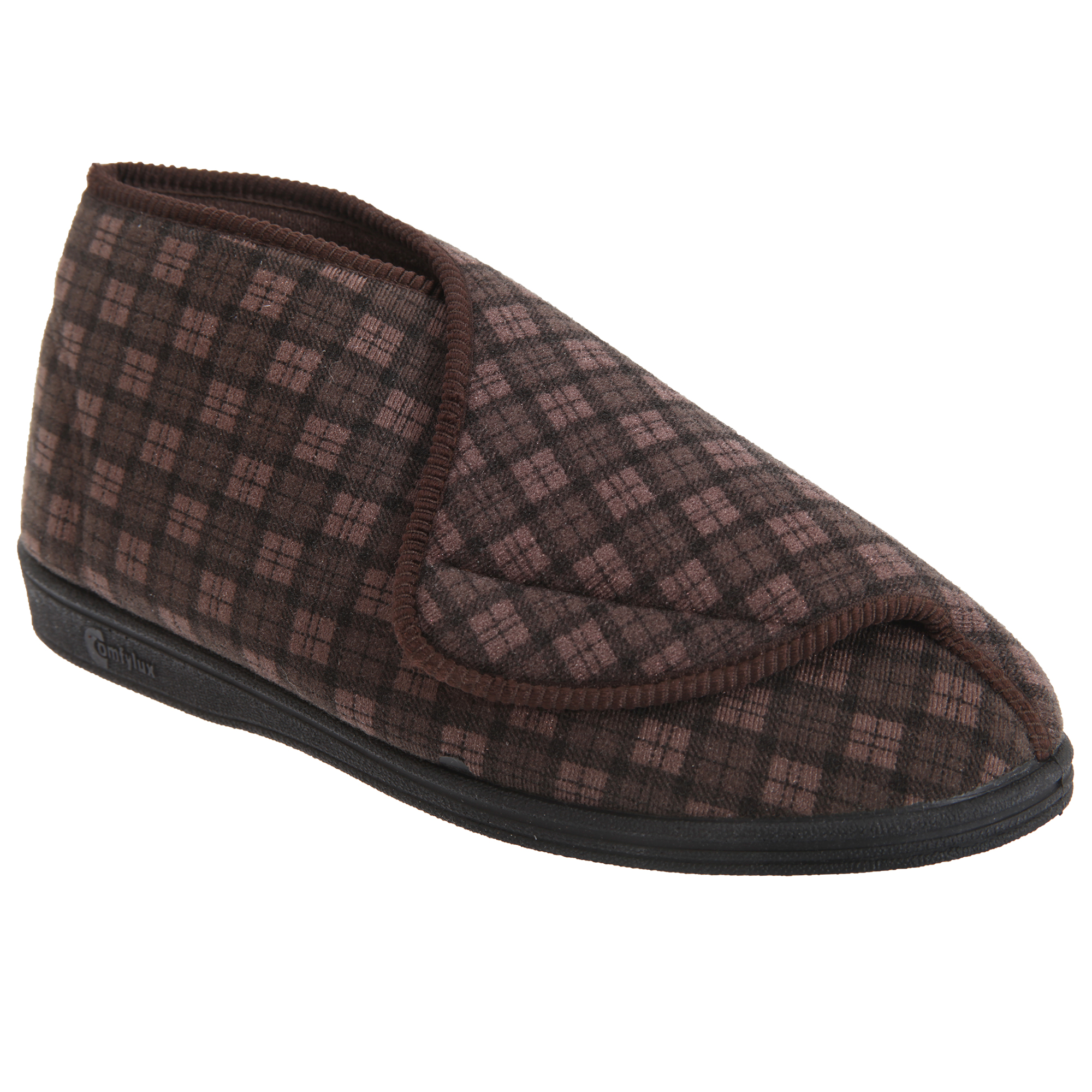 Comfylux Mens James Check  Boot Slippers (DF813)