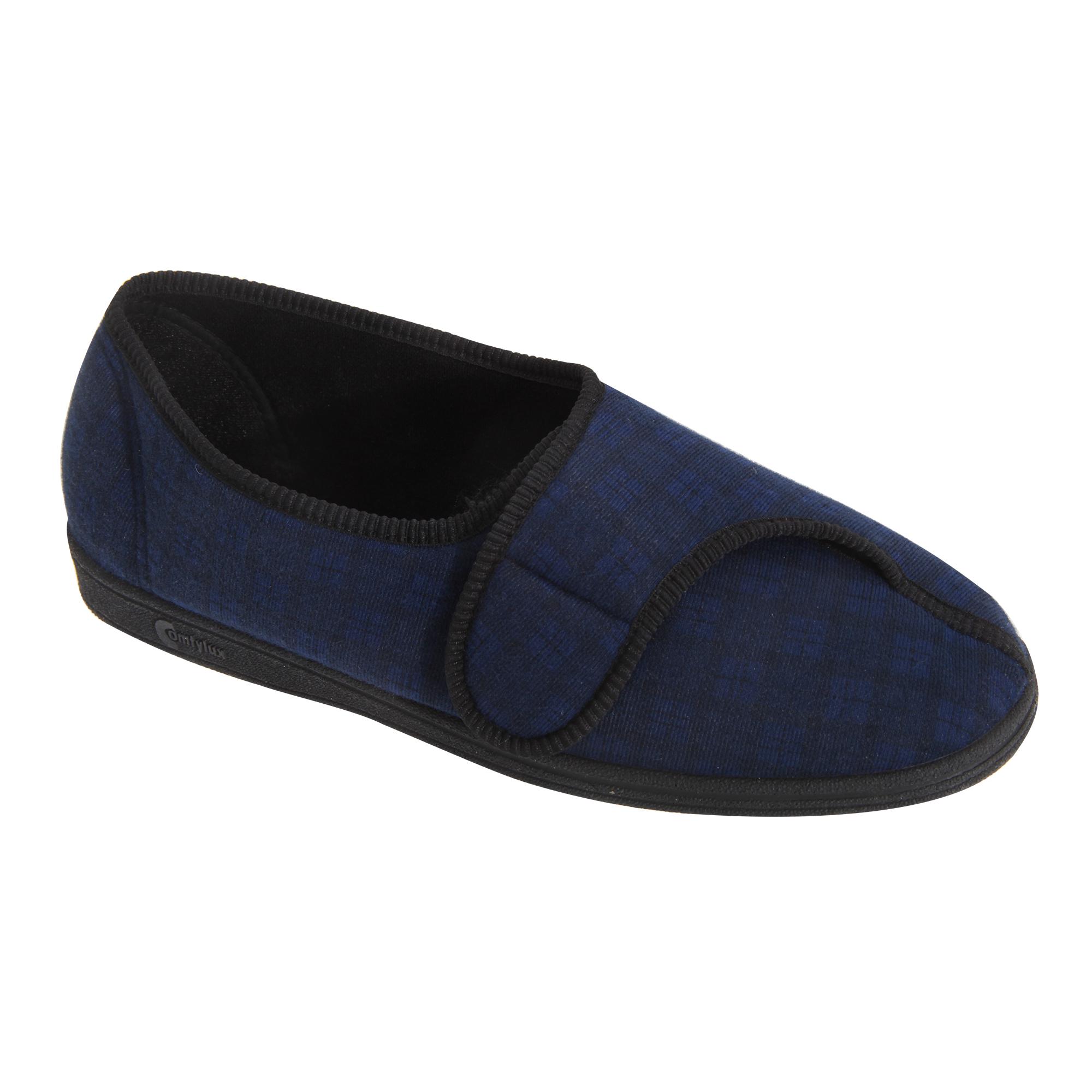 a23f5a8221c Comfylux Mens Paul Velcro Check Slippers 3 Colours 8 Sizes UK 6-13 ...