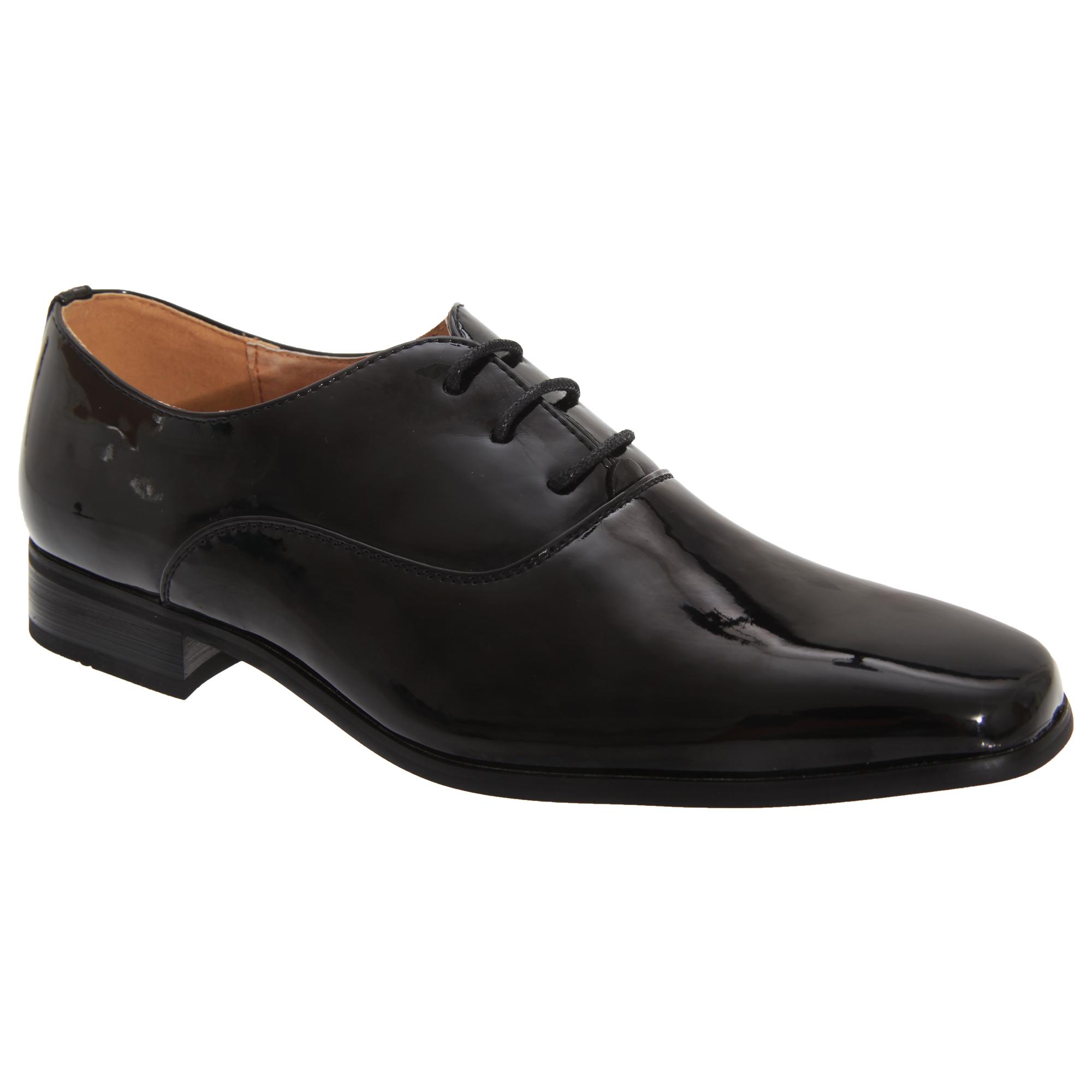 Goor Older Boys Patent Leather Lace-Up Oxford Tie Dress Shoes (4 UK) (Black Patent)