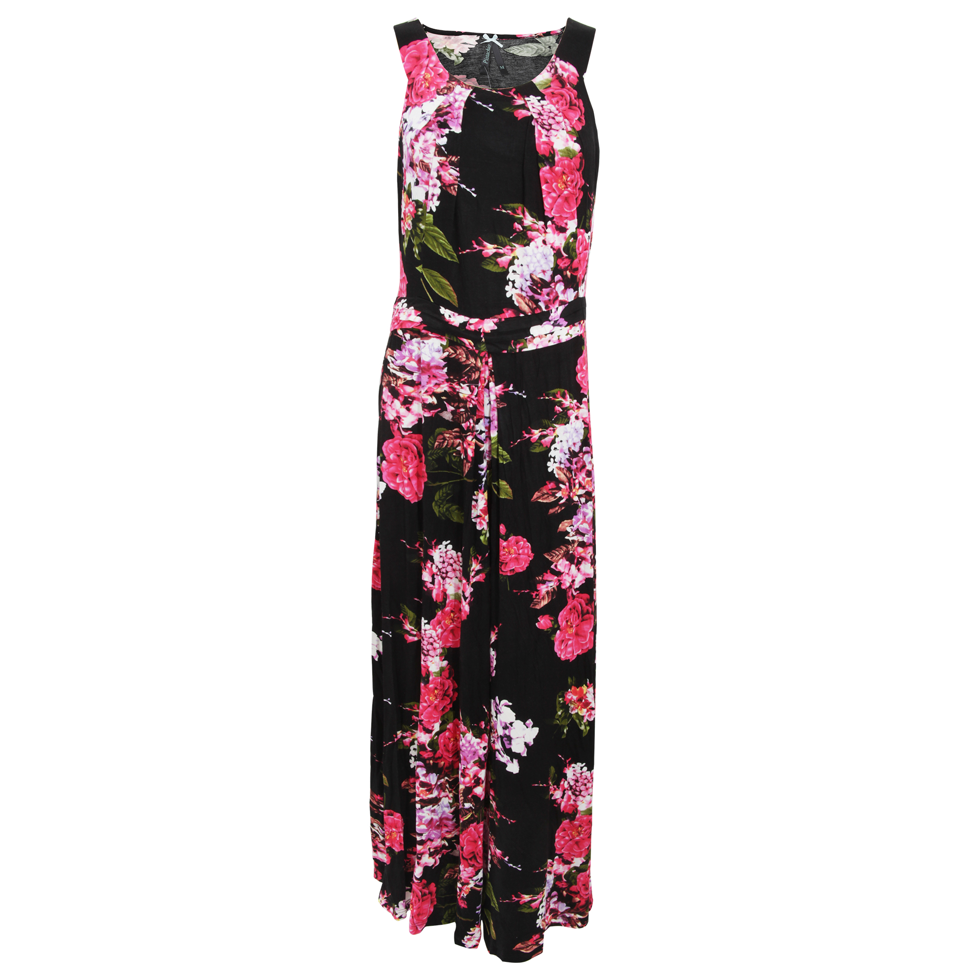 DRESS320 Womens//Ladies Rose And Heather Print Sleeveless Maxi Summer Dress