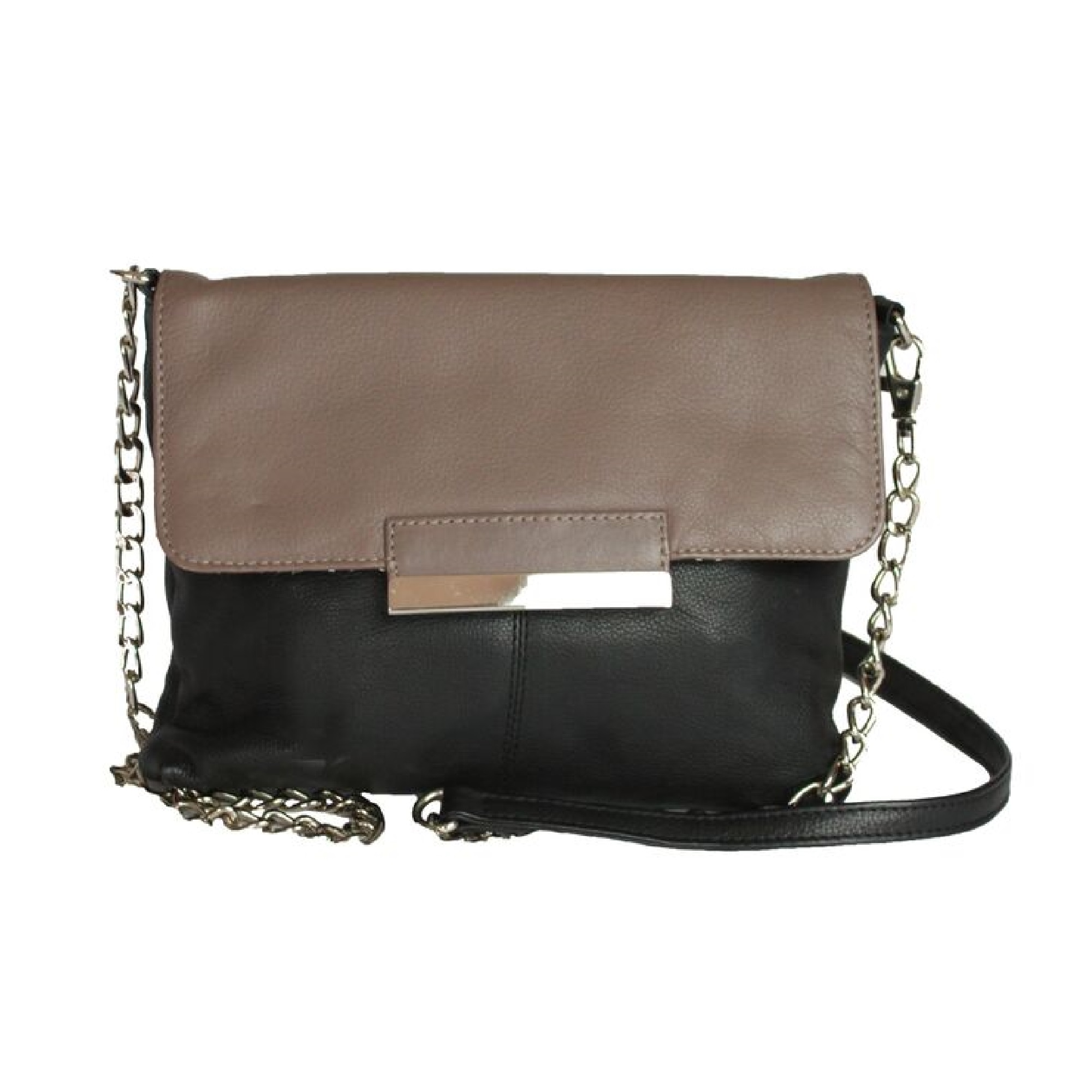 Eastern Counties Leather Womens/Ladies Carys Chain Strap Handbag (One size) (Black/Taupe)