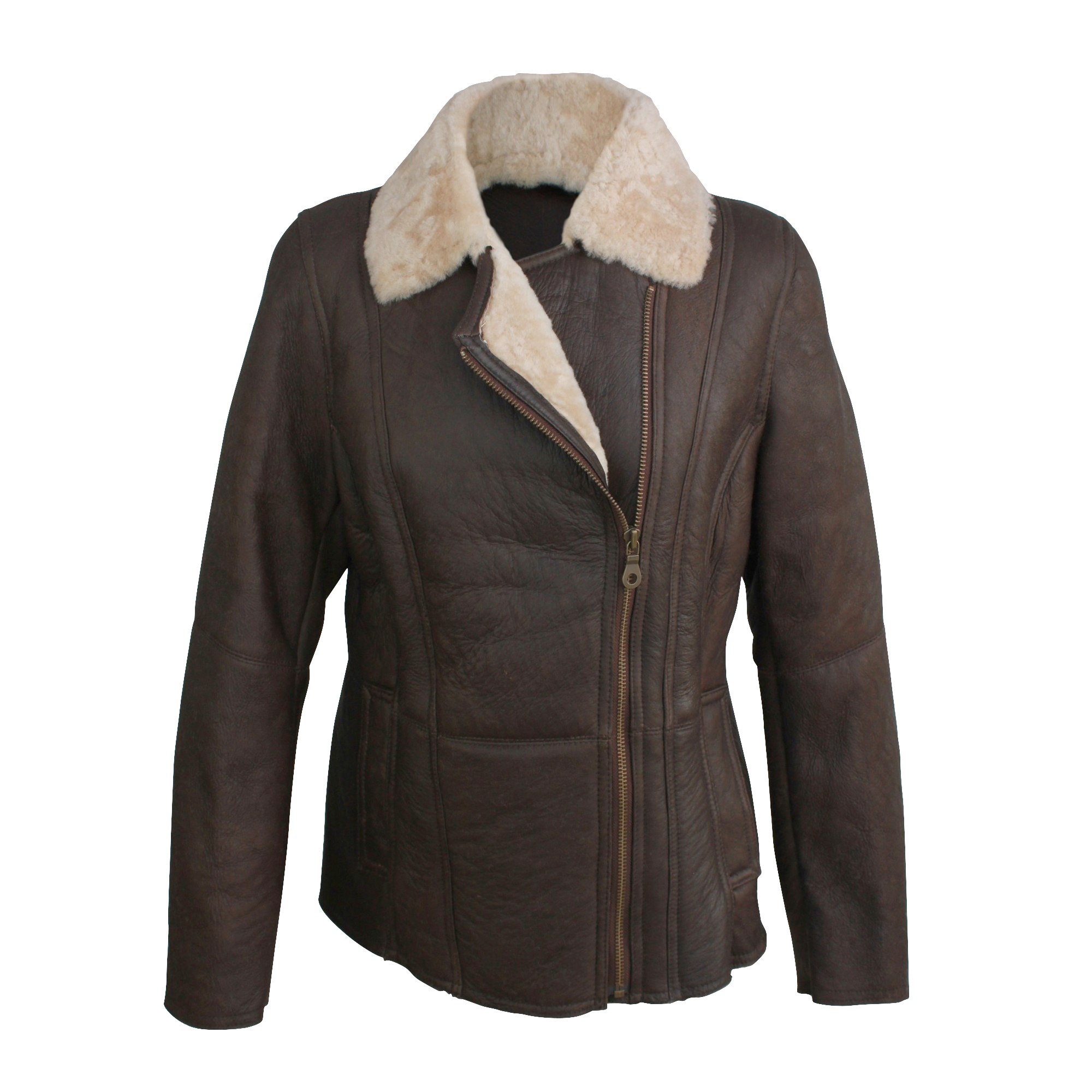 Eastern Counties Leather Womens/Ladies Celene Aviator Sheepskin Coat (12) (Chocolate Forest)