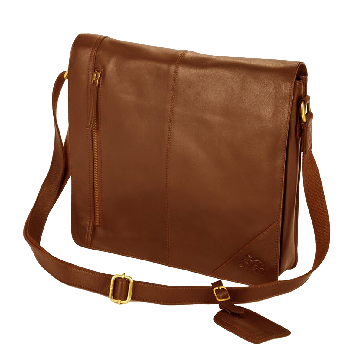 Eastern Counties Leather Wide Messenger Bag (One size) (Tan)