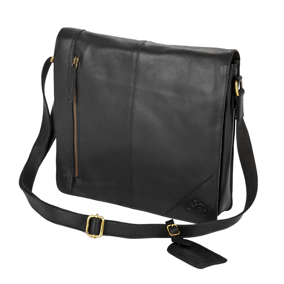 Eastern Counties Leather Wide Messenger Bag (One size) (Black)