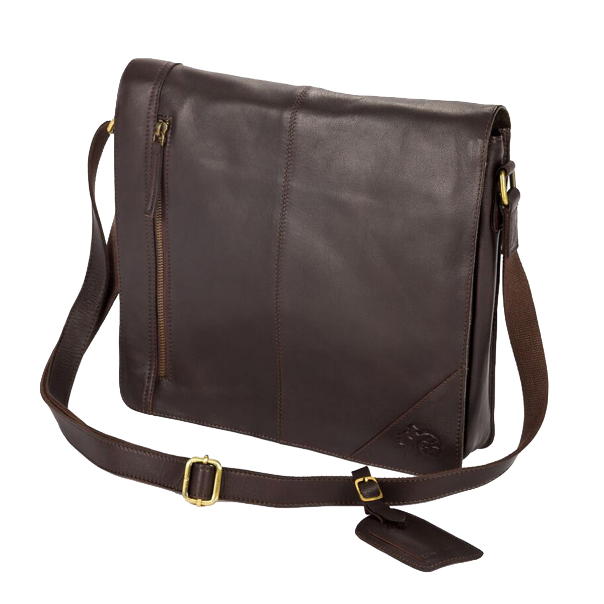 Eastern Counties Leather Wide Messenger Bag (One size) (Brown)