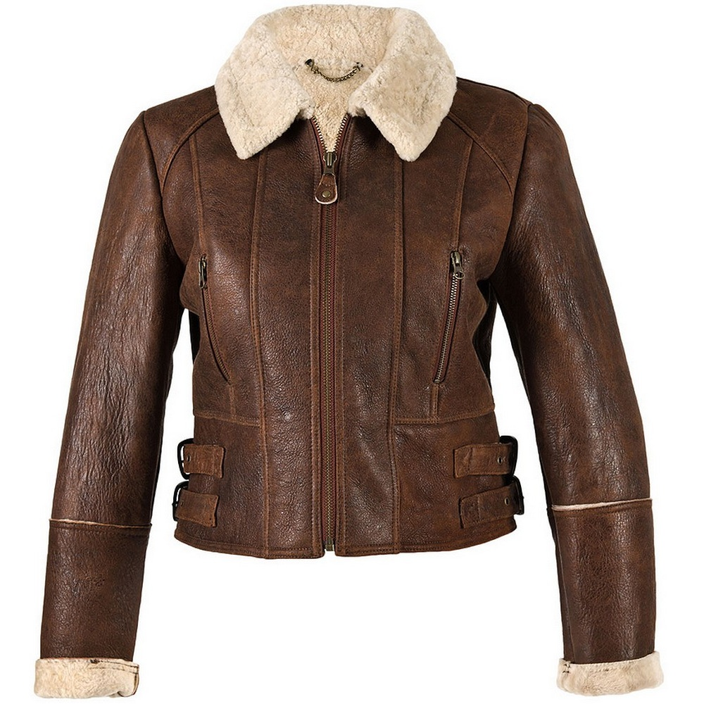 Eastern Counties Leather Womens/Ladies Ella Cropped Sheepskin Flying Jacket (14) (Brick Forest)