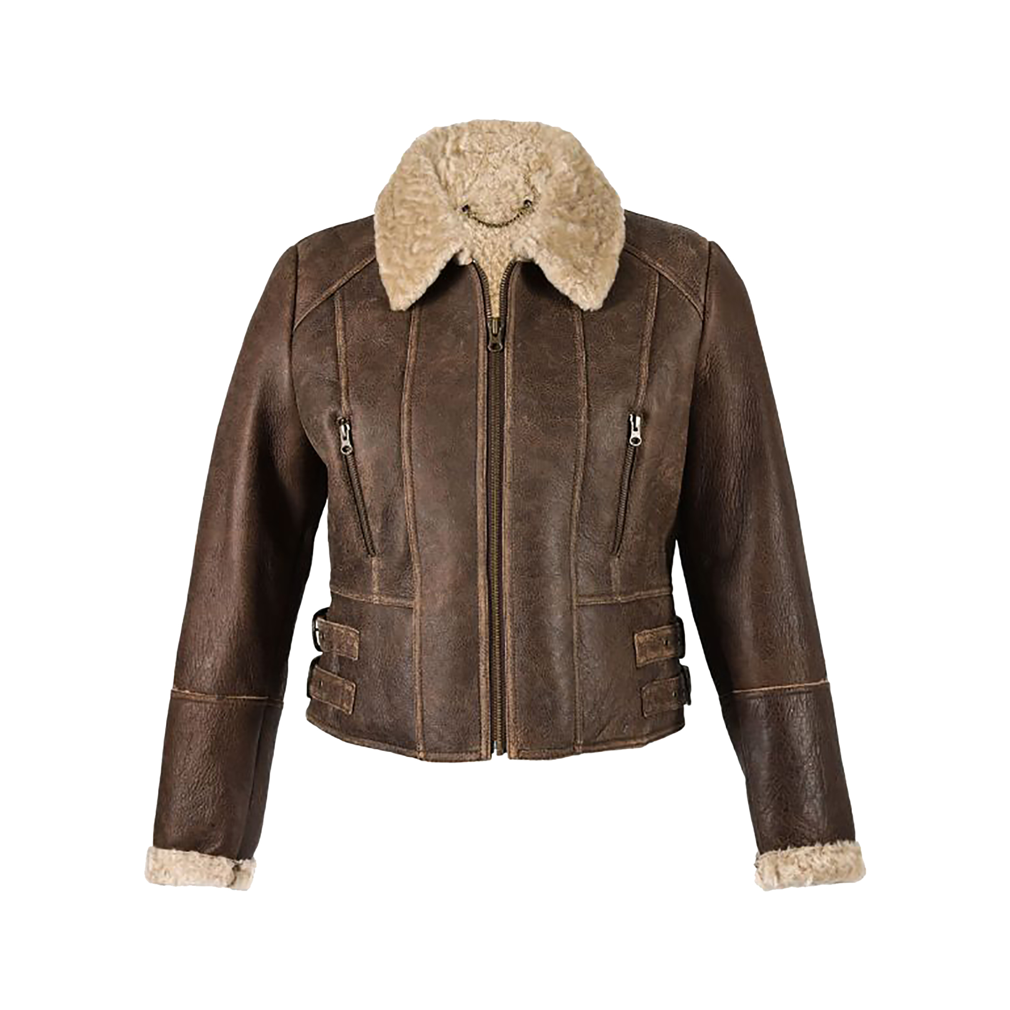 Eastern Counties Leather Womens/Ladies Ella Cropped Sheepskin Flying Jacket (8) (Chocolate Forest)