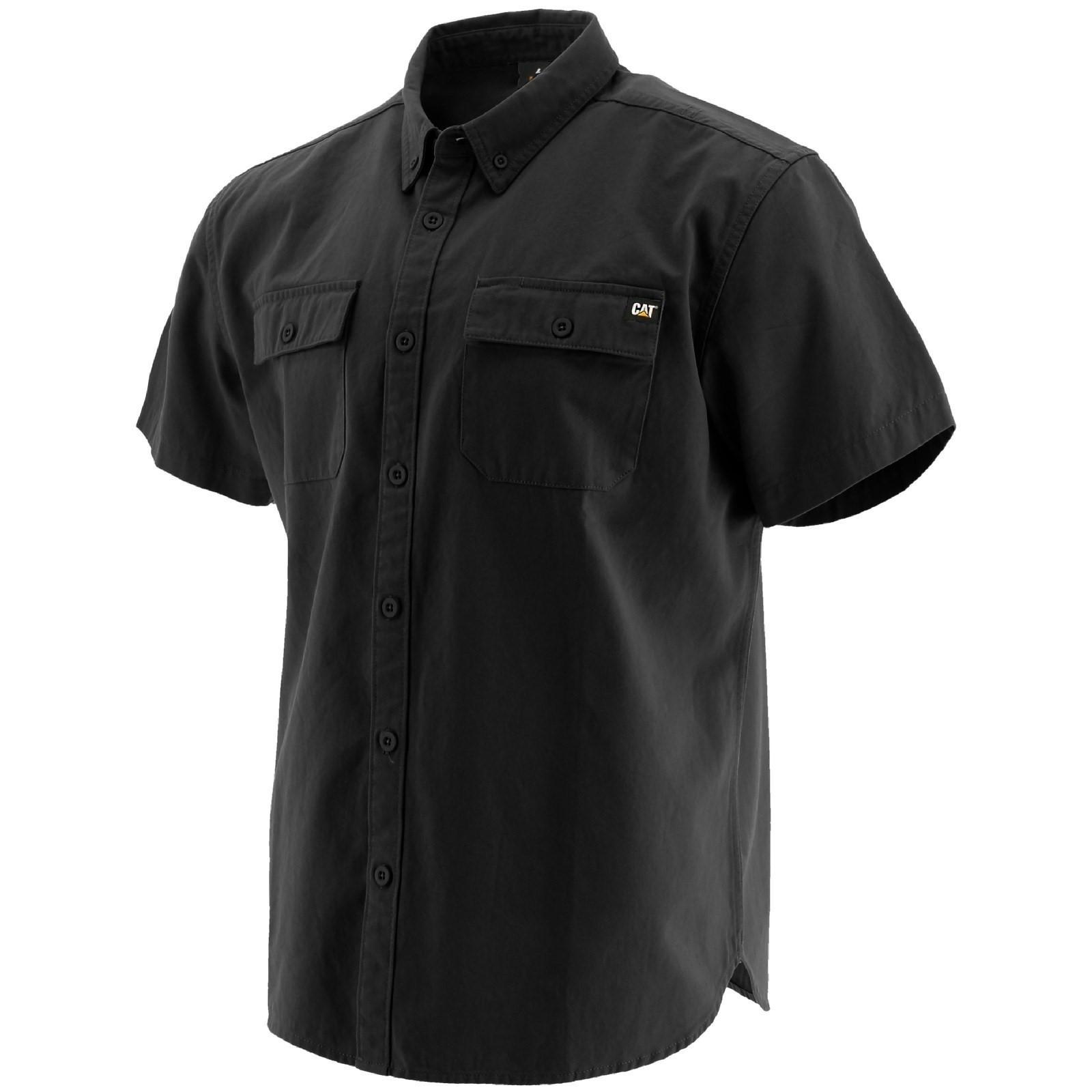 Caterpillar Mens Button Up Short Sleeve Work Shirt (XXL) (Black)