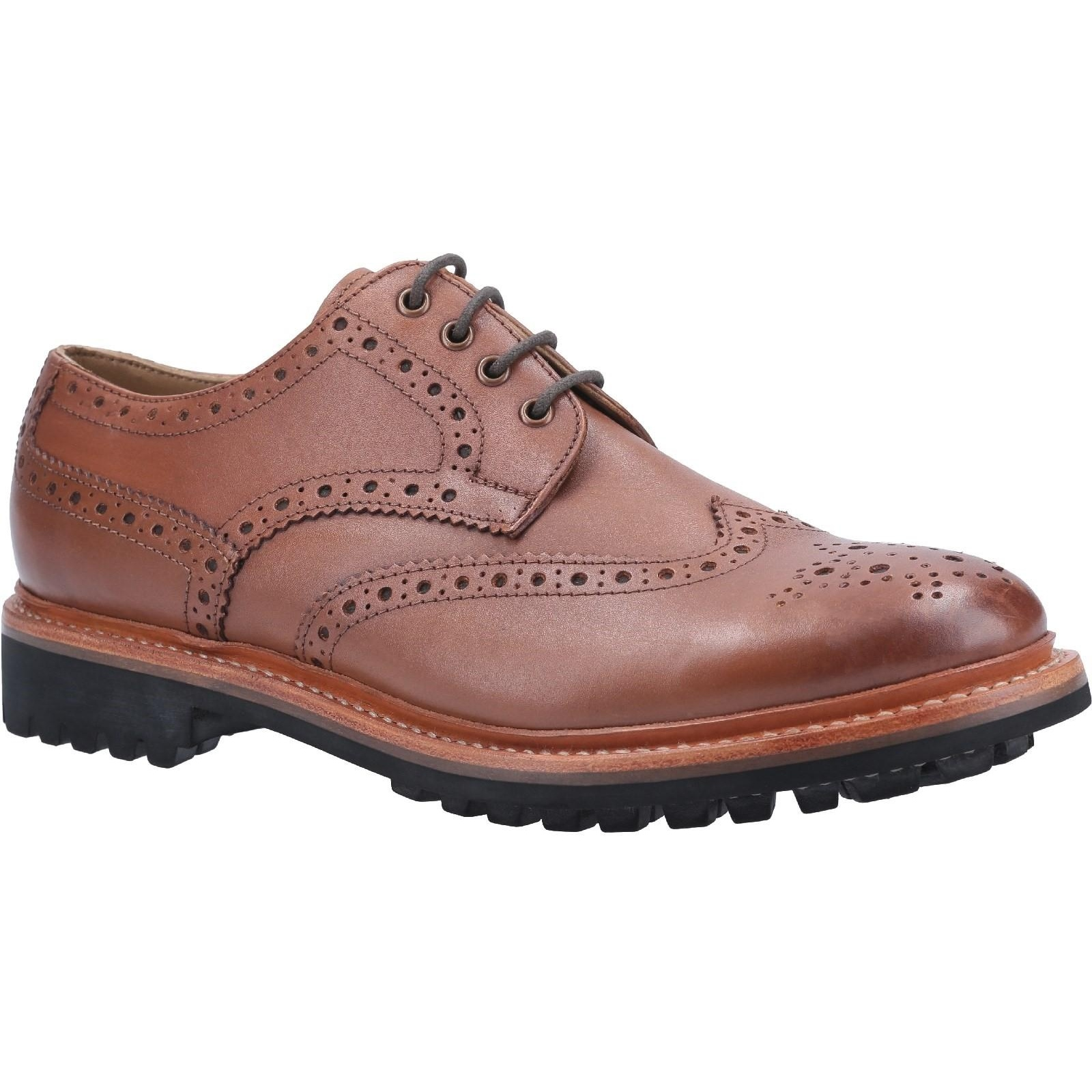 Cotswold Mens Quenington Commando Lace Up Dress Leather Shoe (10 UK) (Brown)