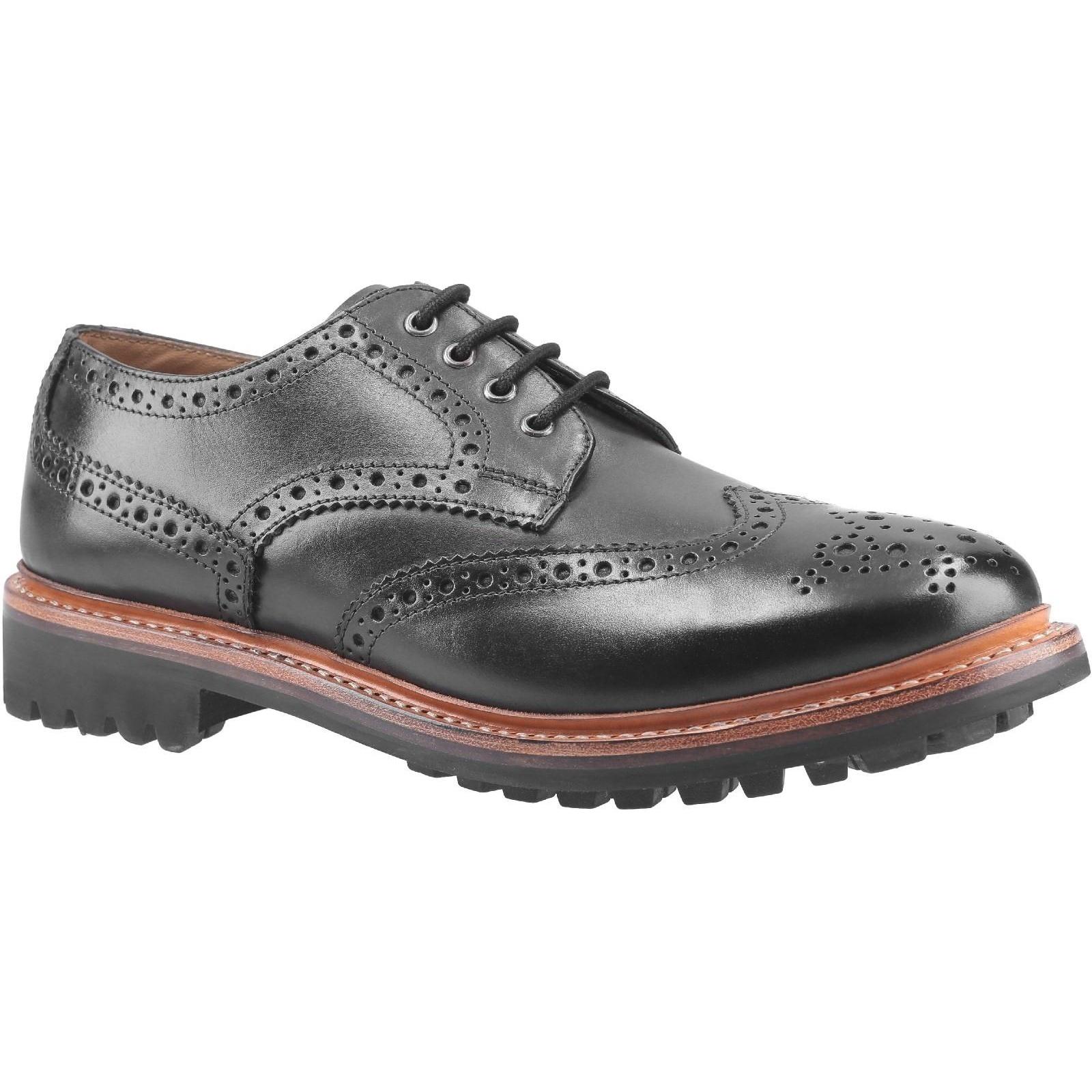 Cotswold Mens Quenington Commando Lace Up Dress Leather Shoe (9 UK) (Black)