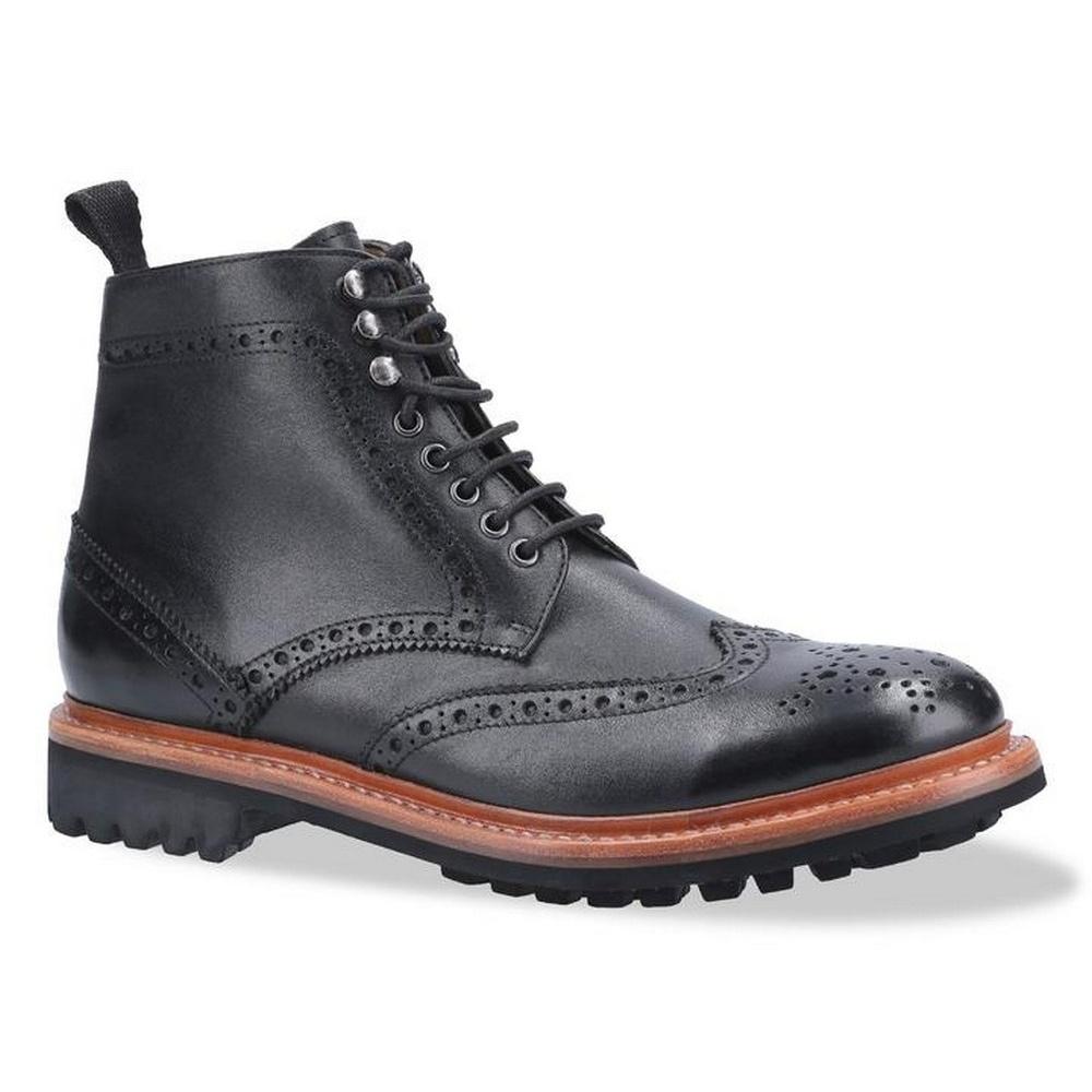 Cotswold Mens Rissington Commando Lace Up Leather Dress Boot (7 UK) (Black)