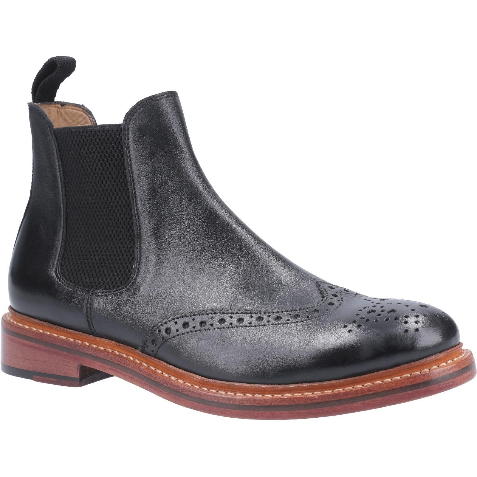 Cotwold Mens Siddington Leather Elasticated Dress Boot (10 UK) (Black)