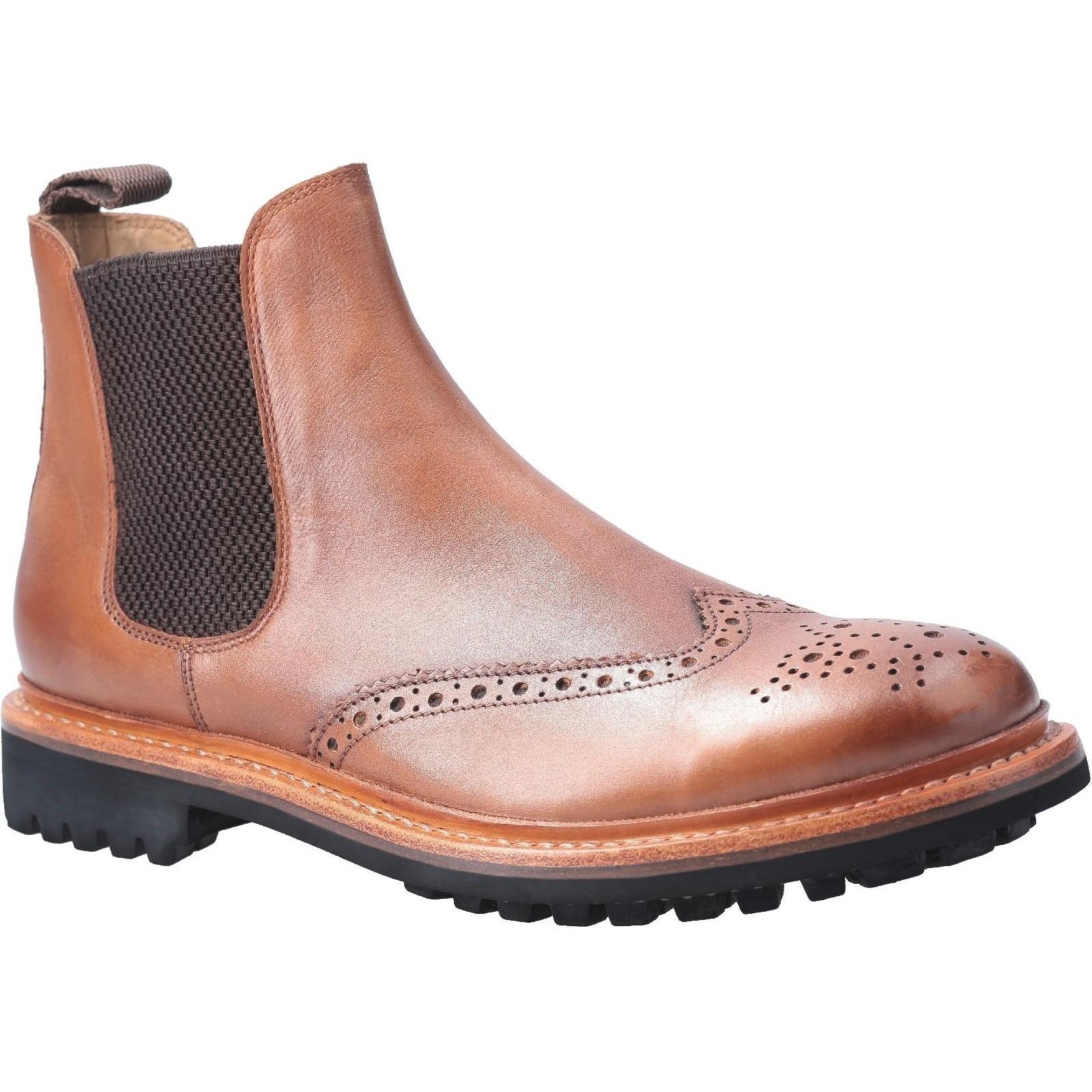 Cotswold Mens Siddington Commando Elasticated Leather Dress Boot (10 UK) (Brown)