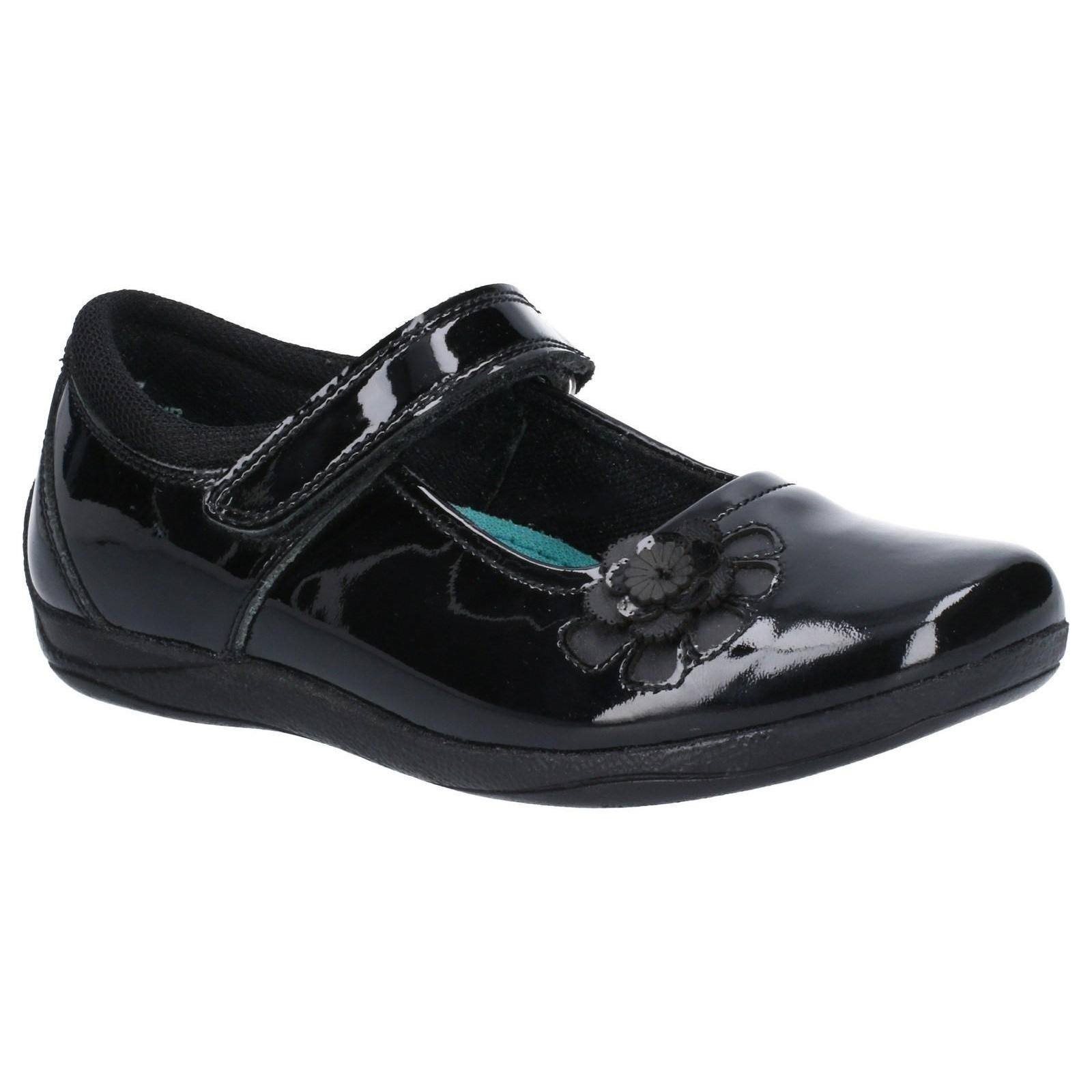 Hush Puppies Girls Jessica Patent Leather School Shoe (4.5 UK Child) (Black Patent)