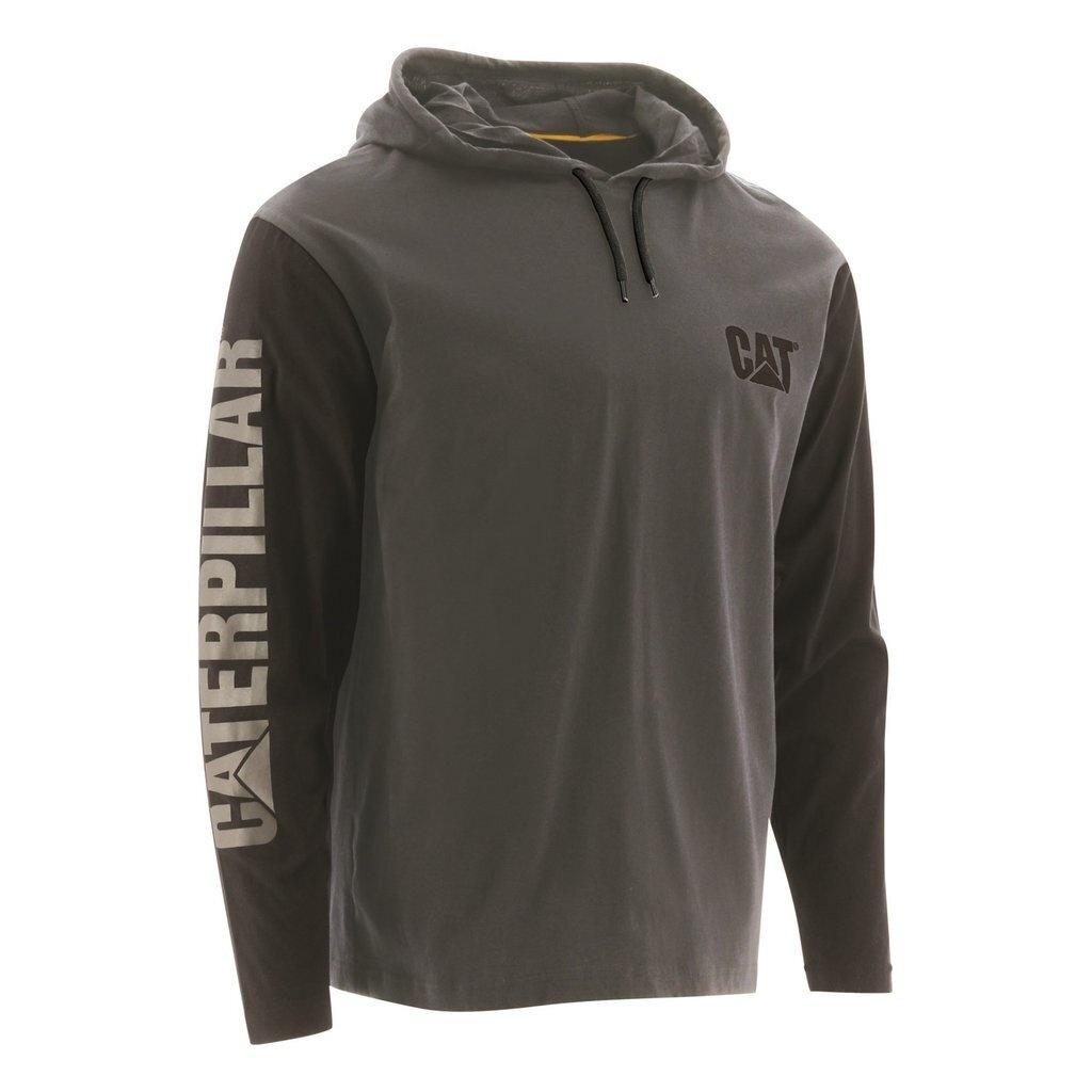 Caterpillar Mens Hooded Long-Sleeved T-Shirt (M) (Dark Grey)