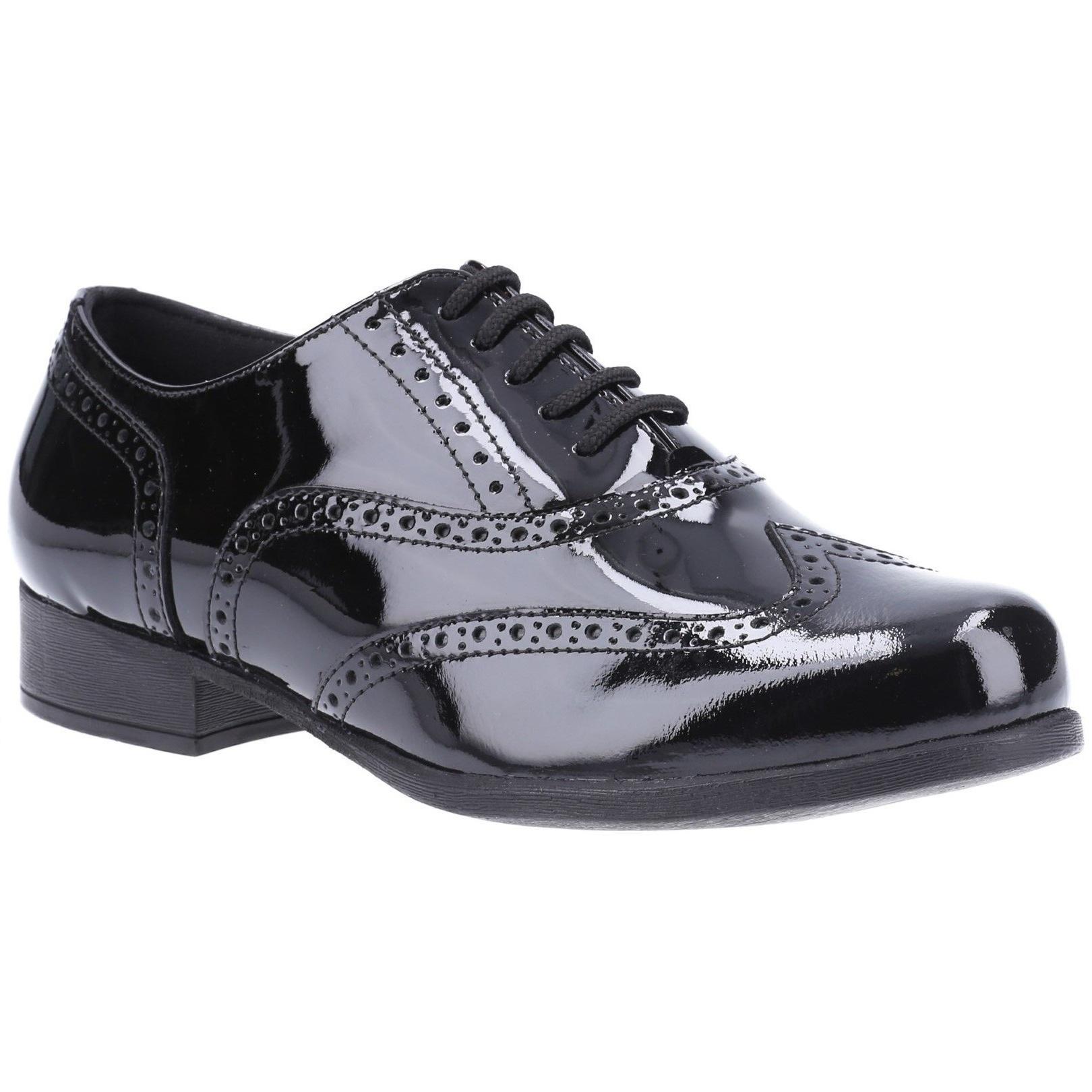 Hush Puppies Girls Kada Patent Leather School Shoes (2 UK) (Black Patent)
