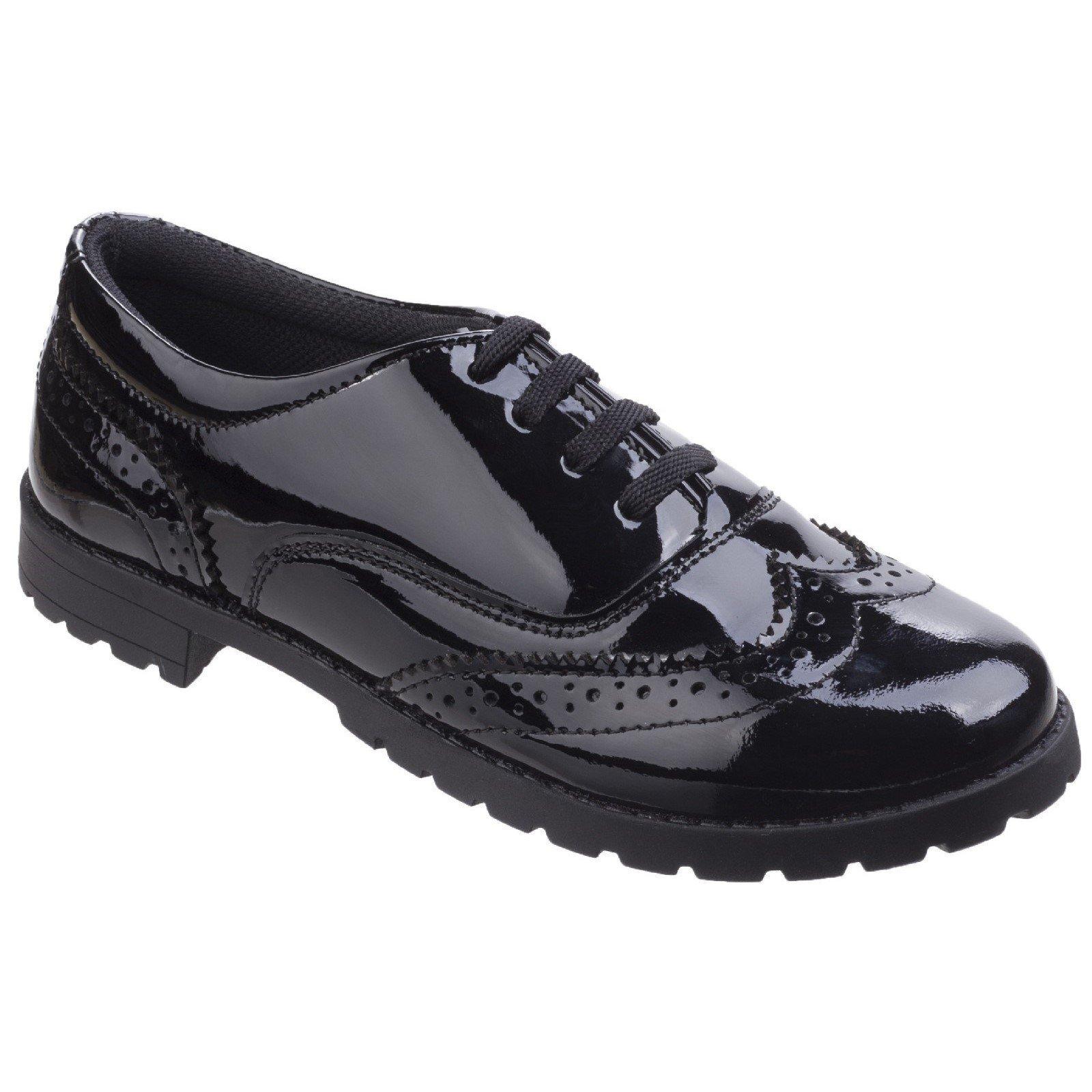Hush Puppies Girls Eadie Patent Leather School Shoes (7 UK) (Black)