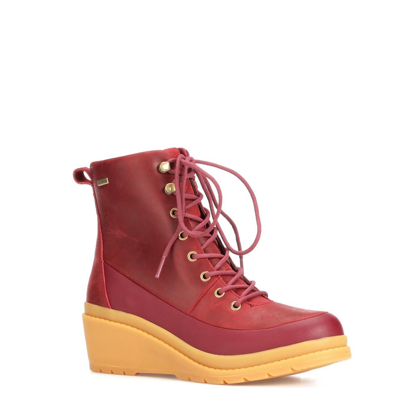 Muck Boots Womens/Ladies Liberty Leather Wedge Ankle Boots (8 UK) (Burgundy/Yellow)