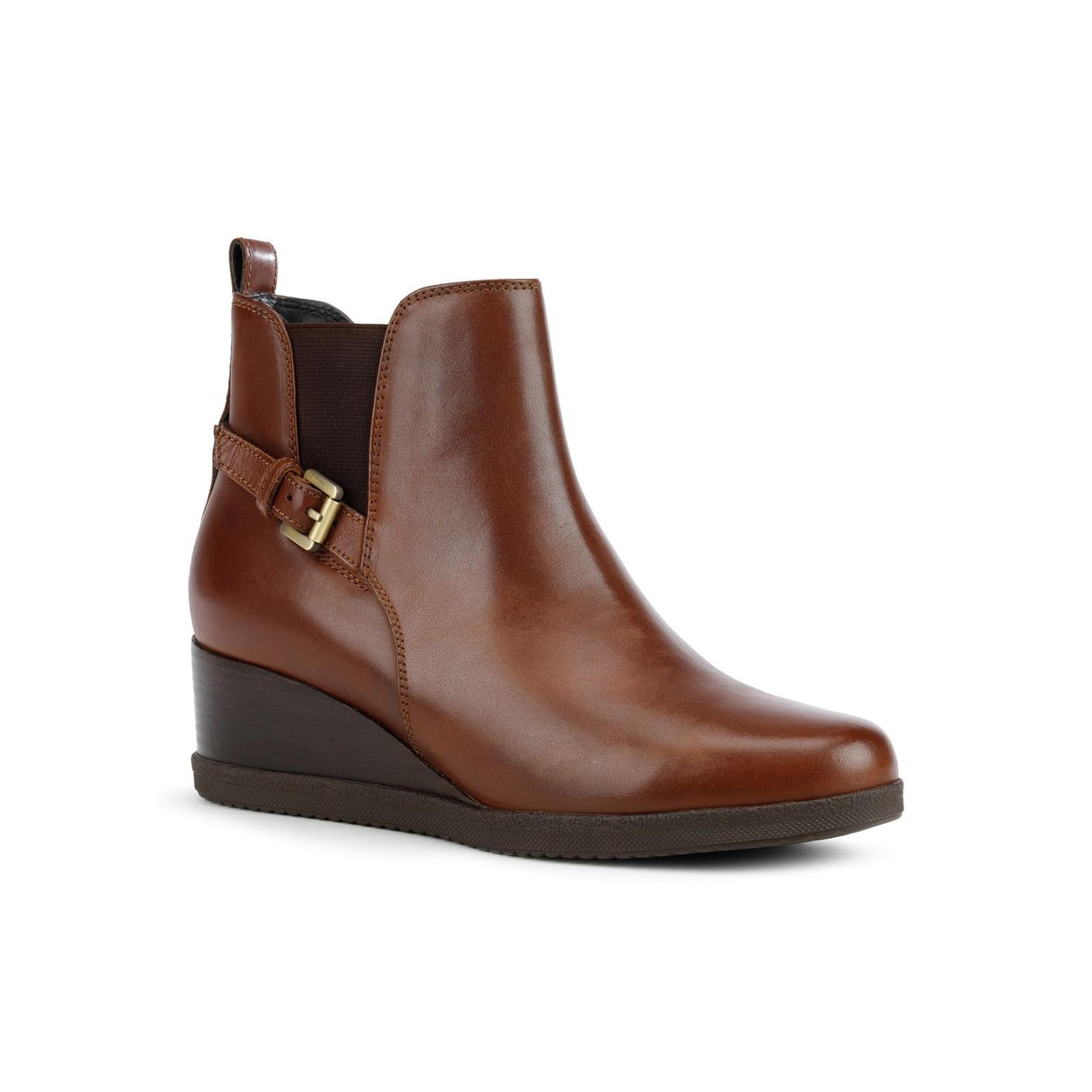 Geox Womens/Ladies Anylla Patent Leather Wedge Ankle Boots (6 UK) (Brown)
