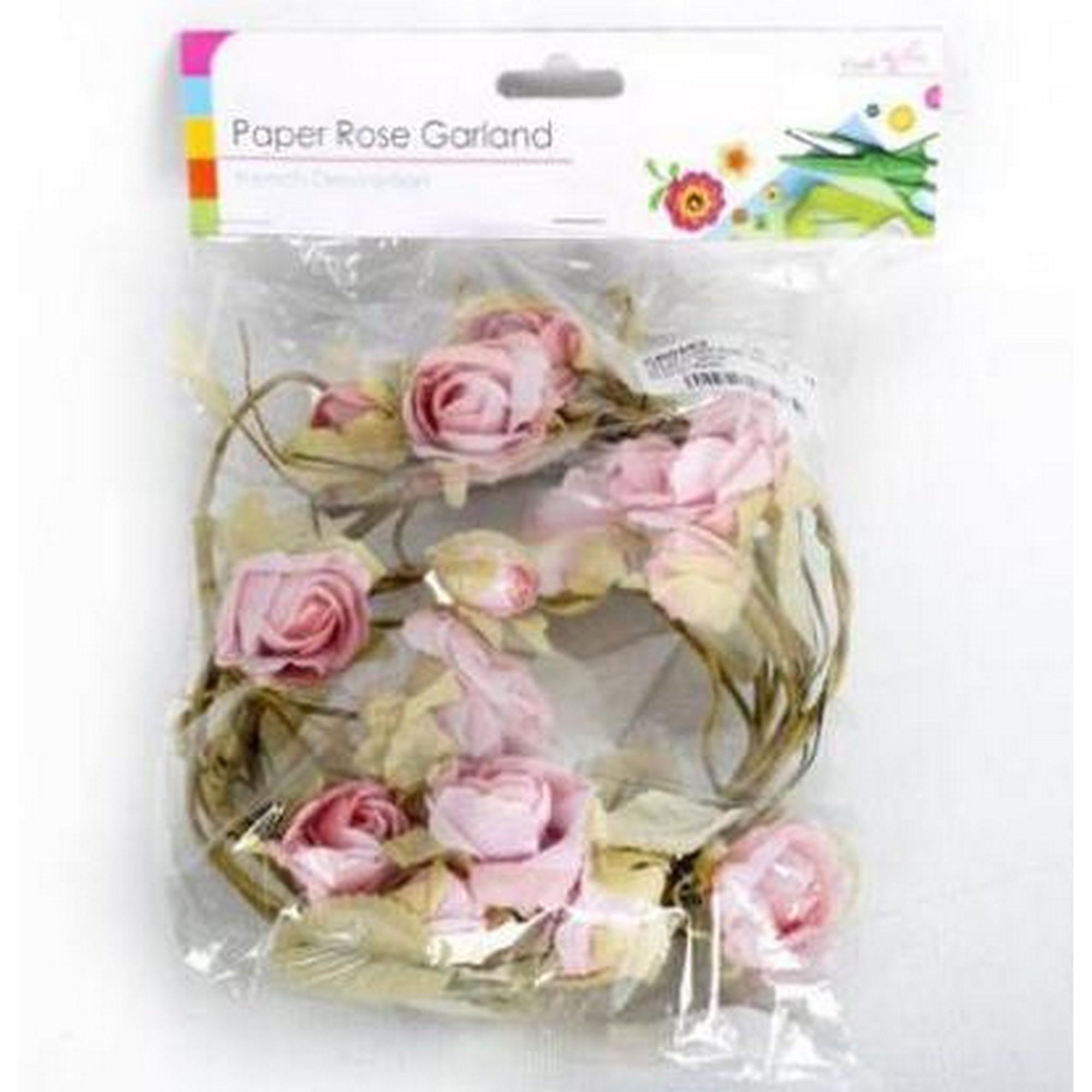 Artificial pink paper rose flower garland gg158 ebay artificial pink paper rose flower garland mightylinksfo