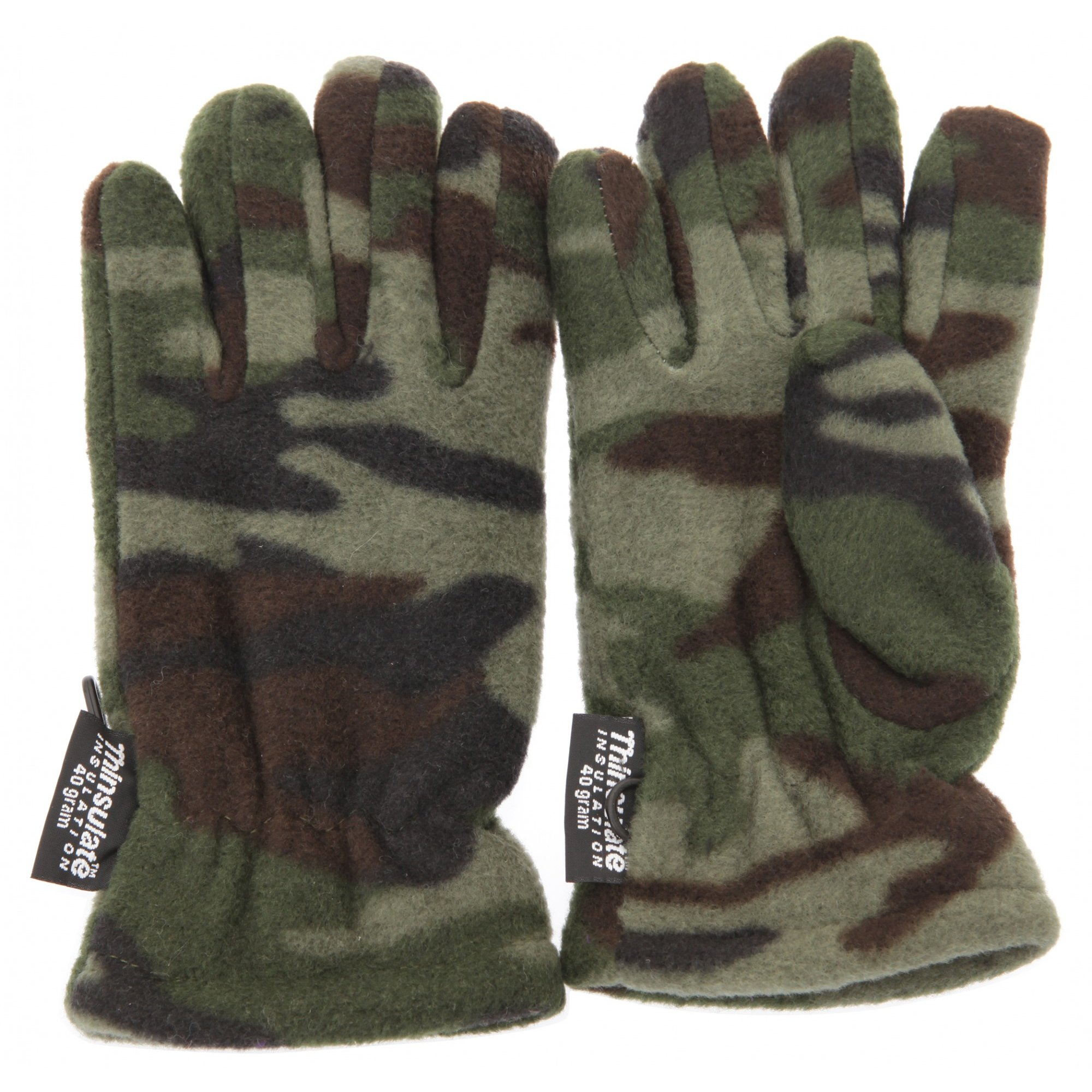 Childrens Boys Camouflage Thinsulate Thermal Winter Gloves (3M 40g) (3-6 Years) (Green Camouflage)