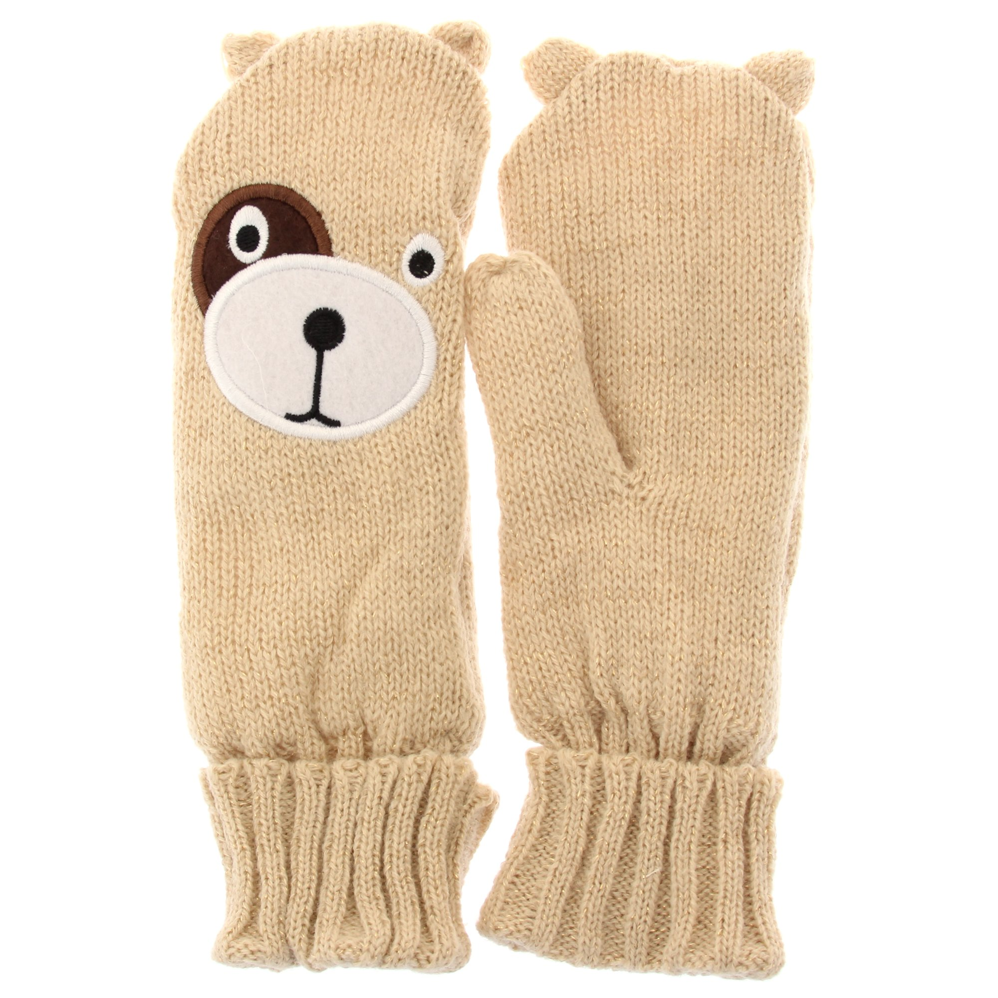 childrens girls teddy bear winter mittens ebay. Black Bedroom Furniture Sets. Home Design Ideas