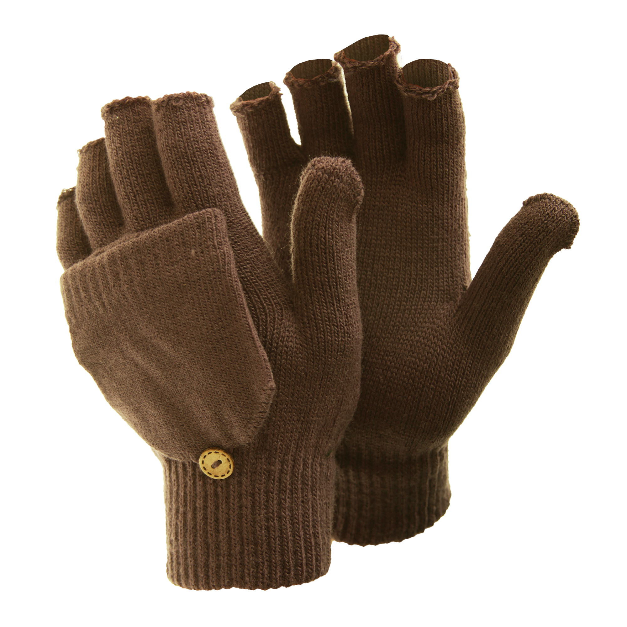 FLOSO Ladies/Womens Winter Capped Fingerless Magic Gloves (One Size) (Brown)