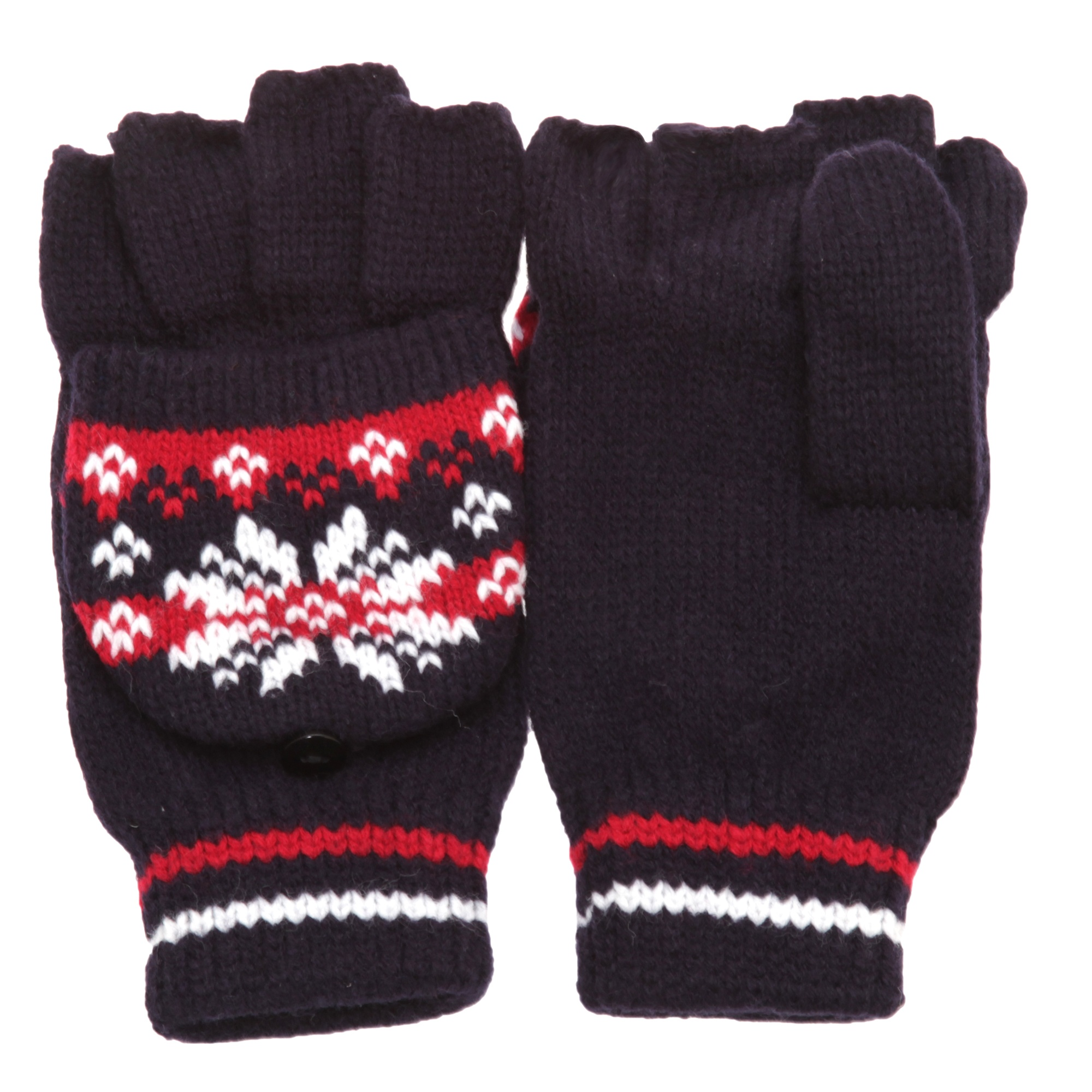 Womens /Ladies Knit Design Patterned Capped Fingerless ...