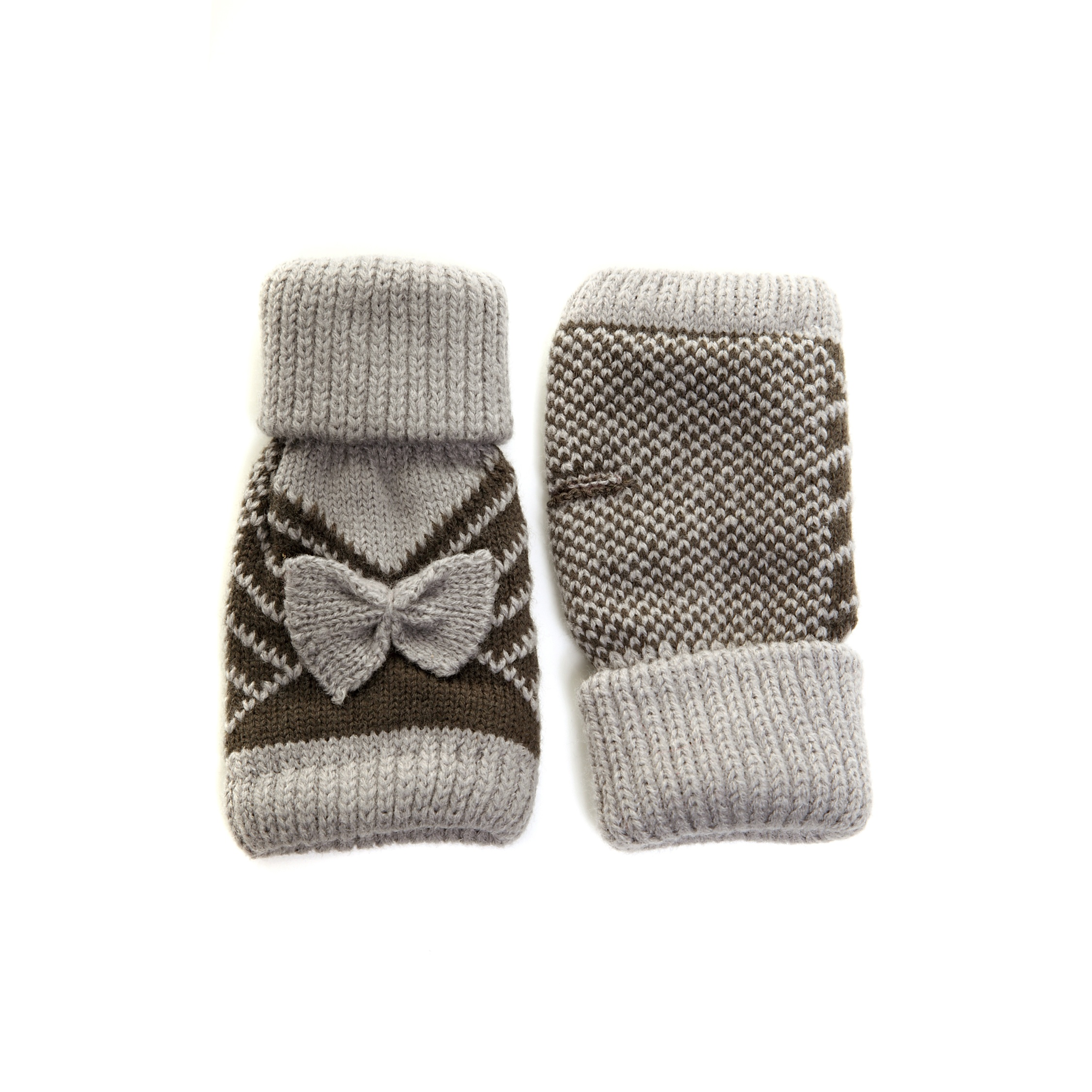 Ladies/Womens Fingerless Winter Gloves With Bow Warm Soft
