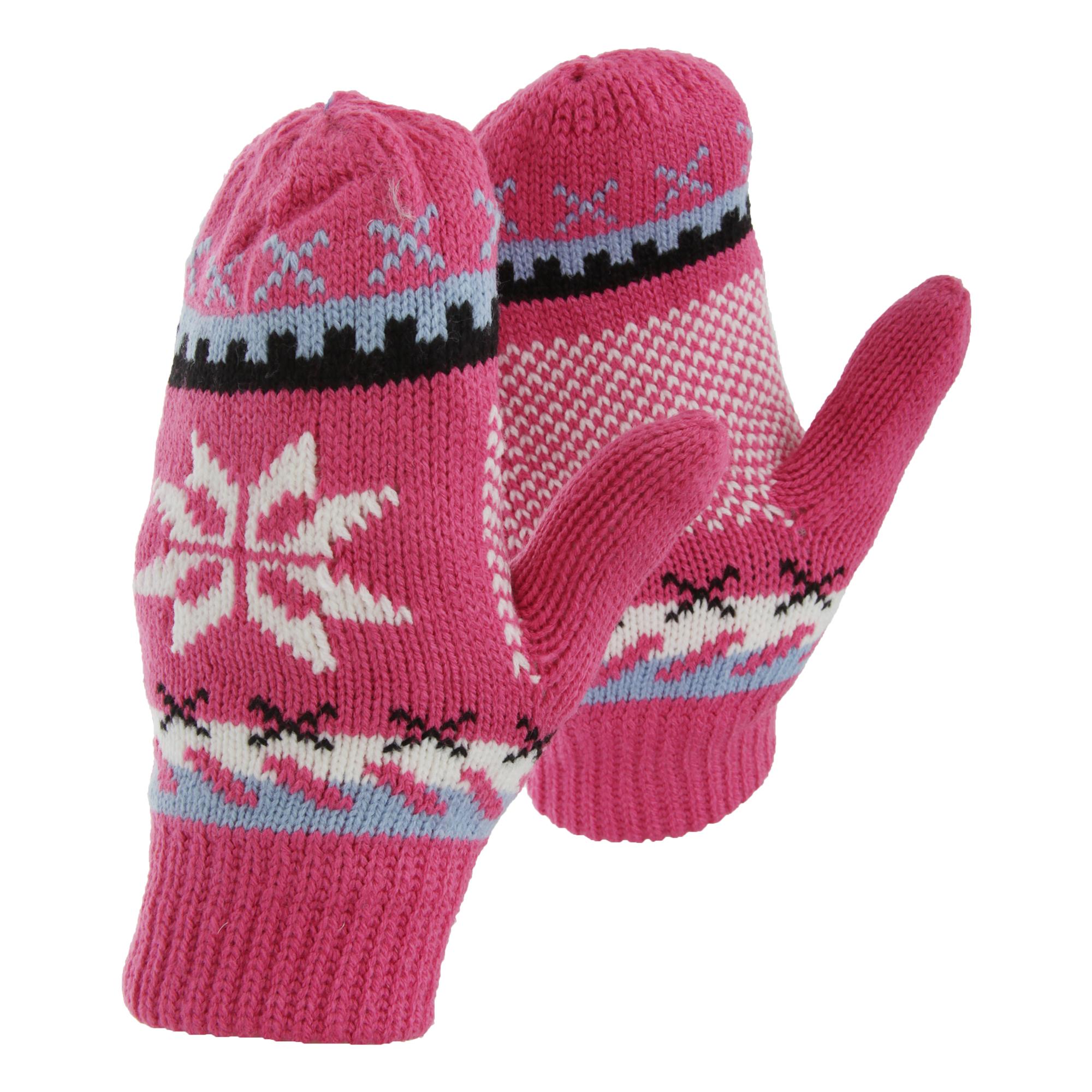 Womens/Ladies Fairisle Snowflake Design Winter Mittens ...