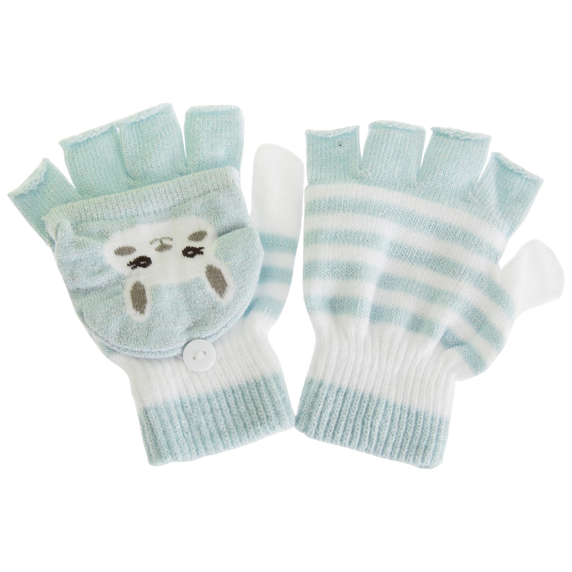 1 Pair Childrens//Kids Cat Striped Gloves//Mittens With Glitter GL597