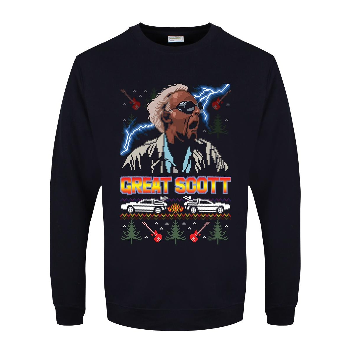 Grindstore Mens Great Scott Christmas Jumper (XL) (Navy Blue)