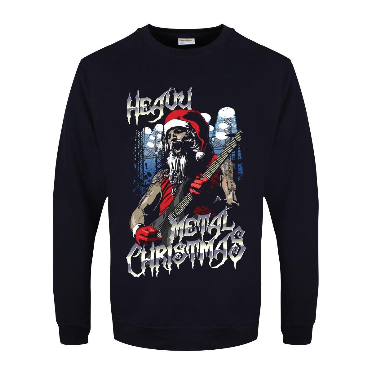 Grindstore Mens Heavy Metal Christmas Jumper (XL) (Navy)