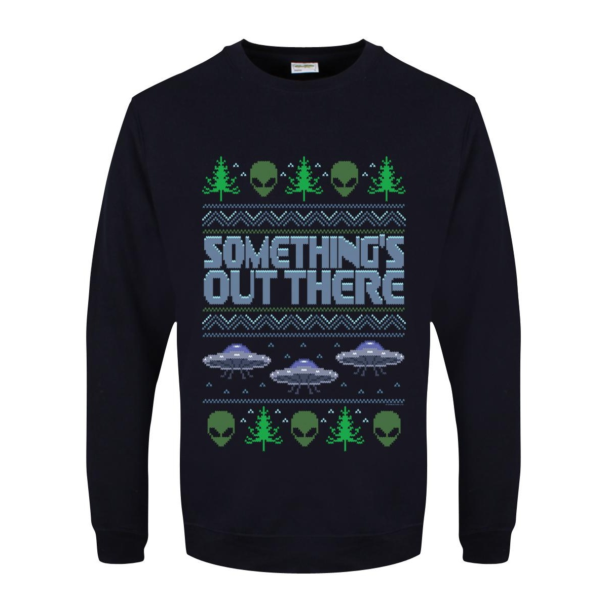 Grindstore Mens Something`s Out There Christmas Jumper (XL) (Navy)