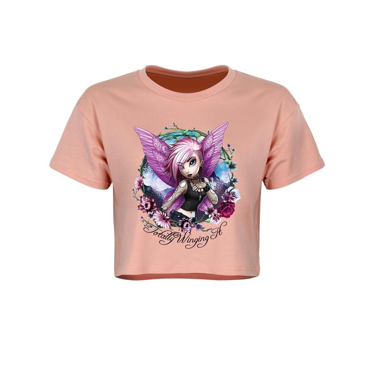 Hexxie Womens/Ladies Totally Winging It Violet Crop Top (XL) (Pink)