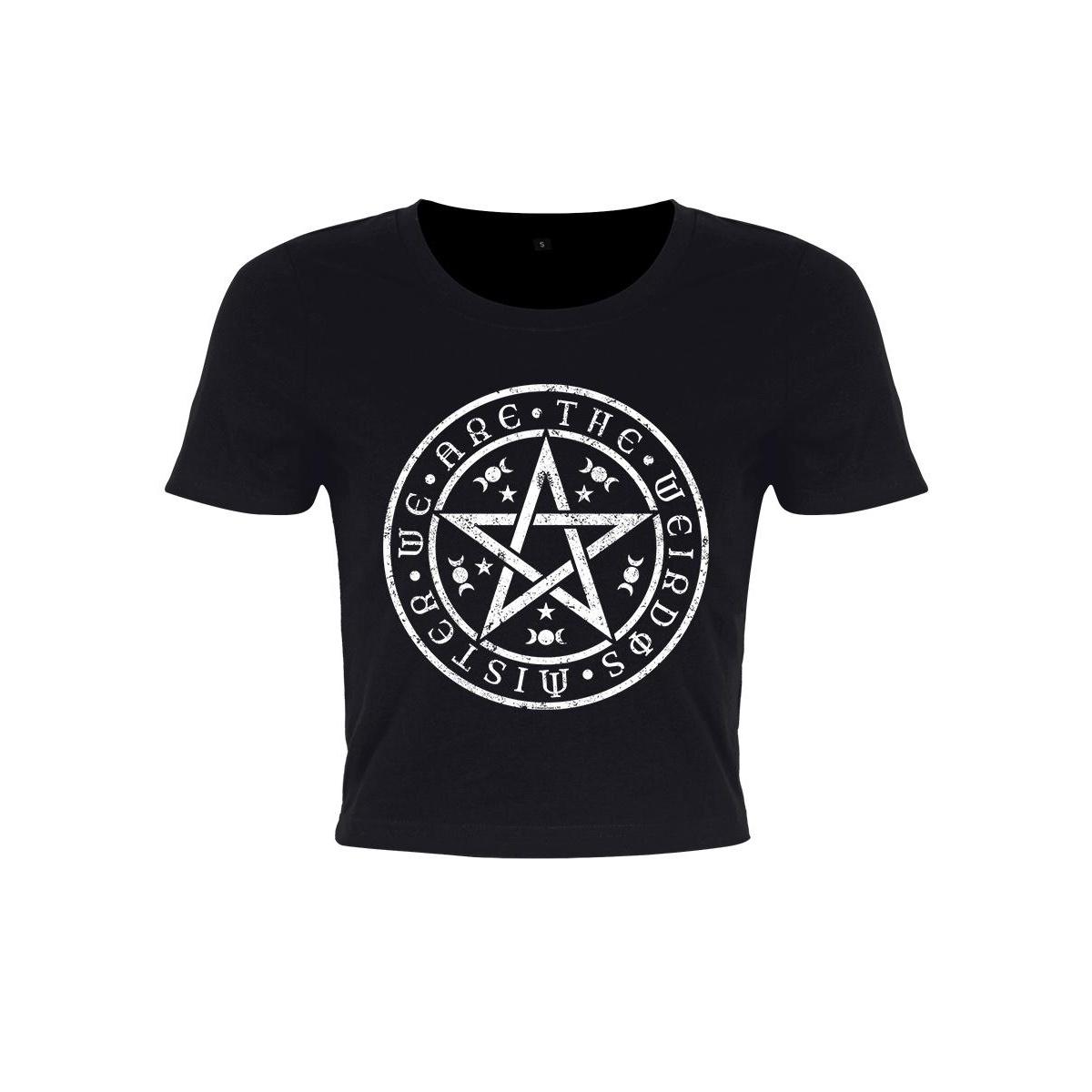 Grindstore Womens/Ladies We Are The Weirdos Mister Pentagram Crop Top (M) (Black/White)