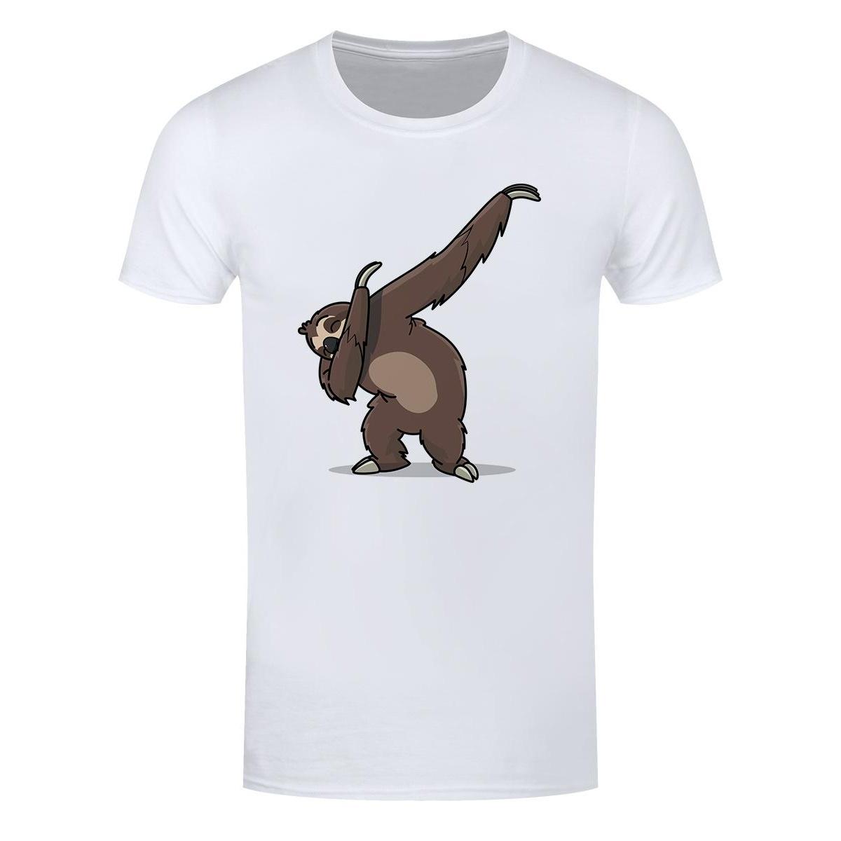Grindstore Mens Sloth Dab T-Shirt (XXL) (White/Brown)