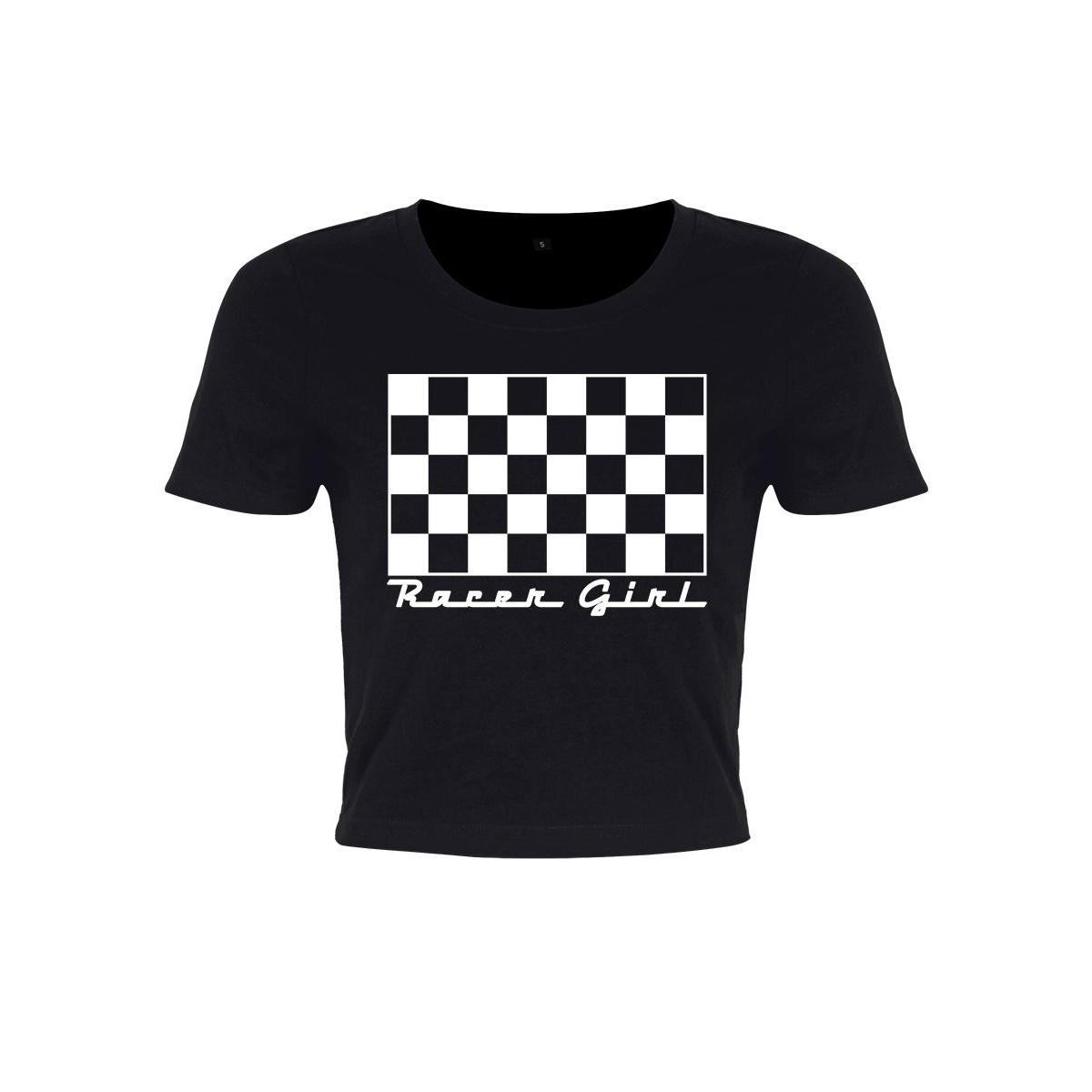 Grindstore Womens/Ladies Racer Girl Crop Top (S) (Black/White)