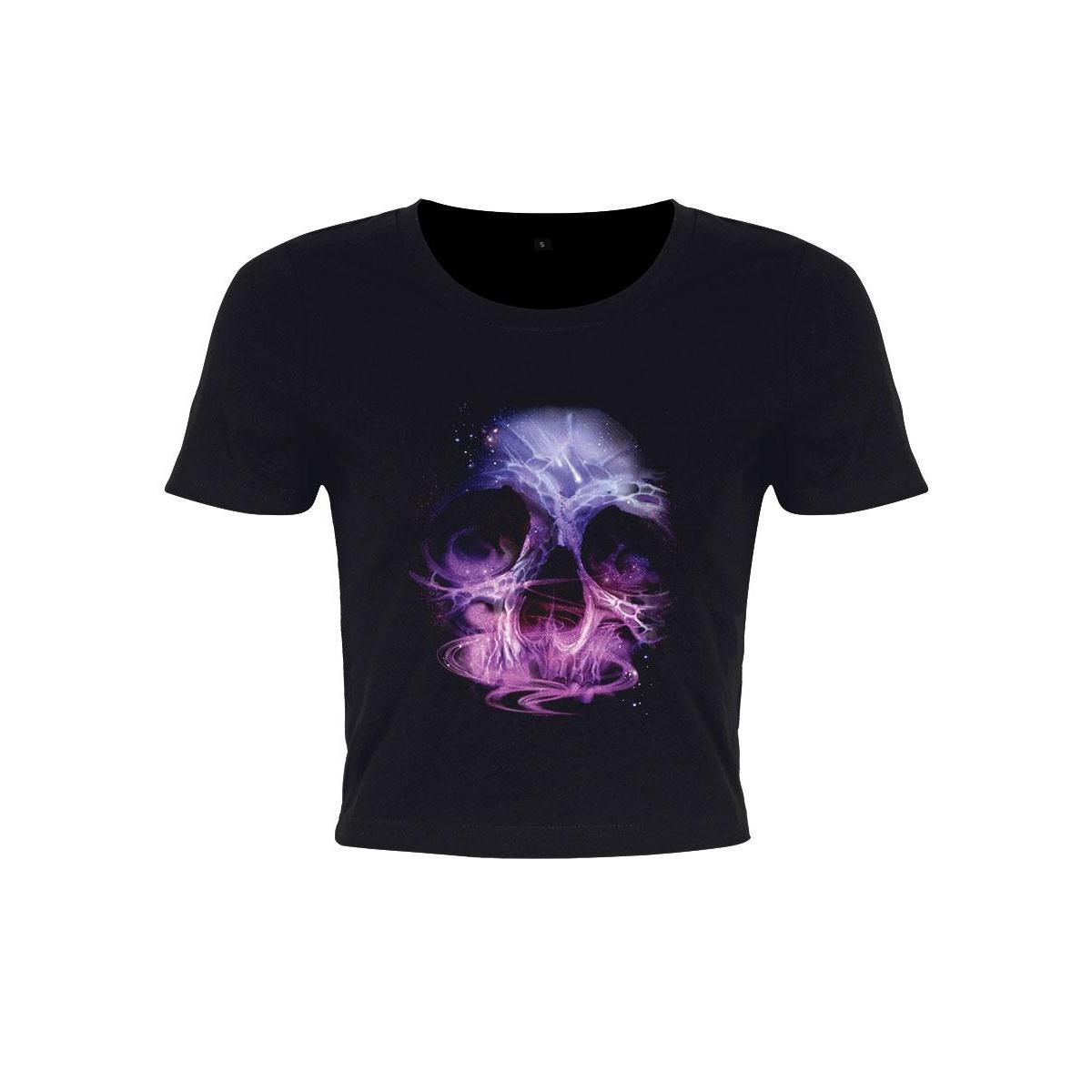 Grindstore Womens/Ladies Galatic Skull Crop Top (S) (Black)