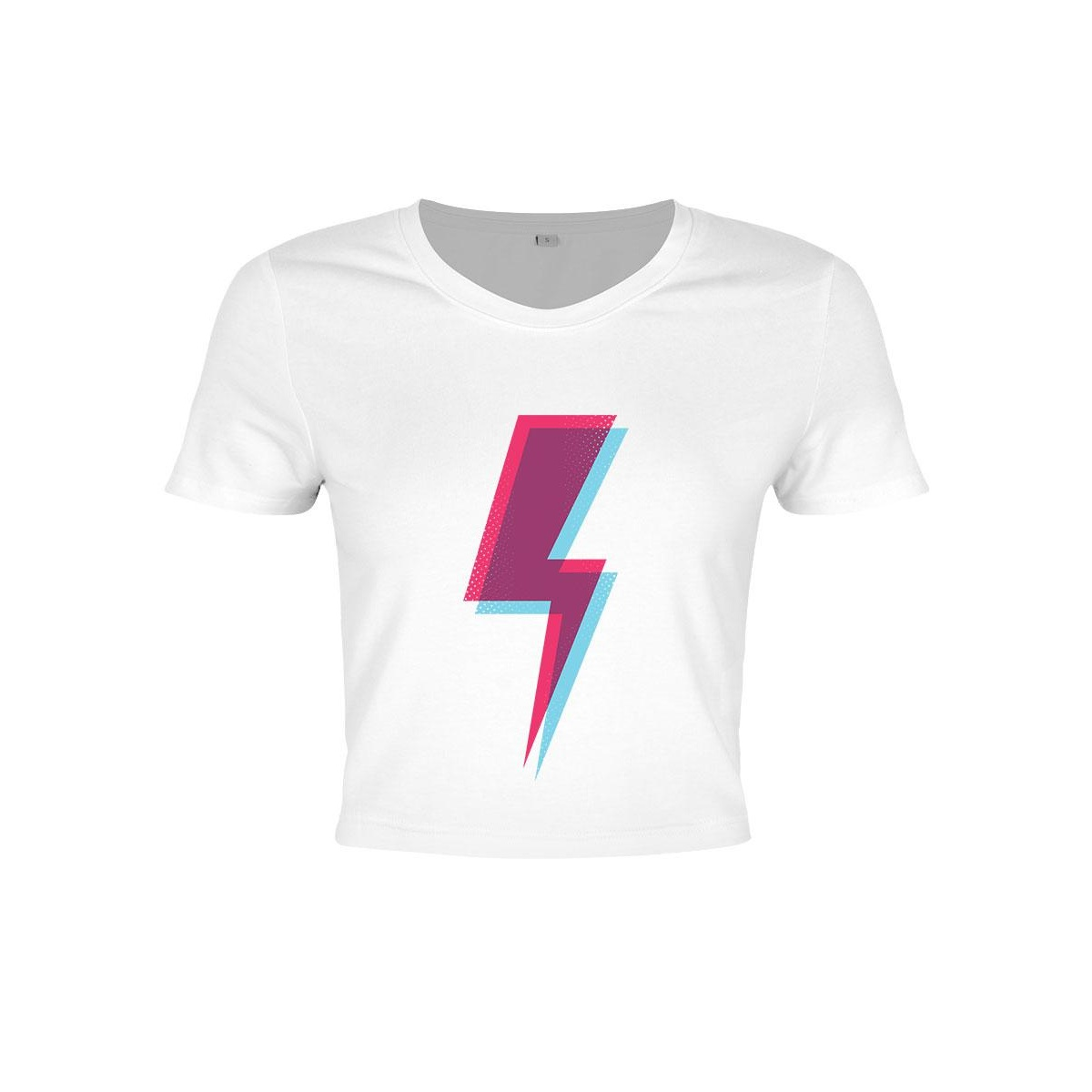 Grindstore Womens/Ladies Lightning Bolt Crop Top (M) (White/Purple)
