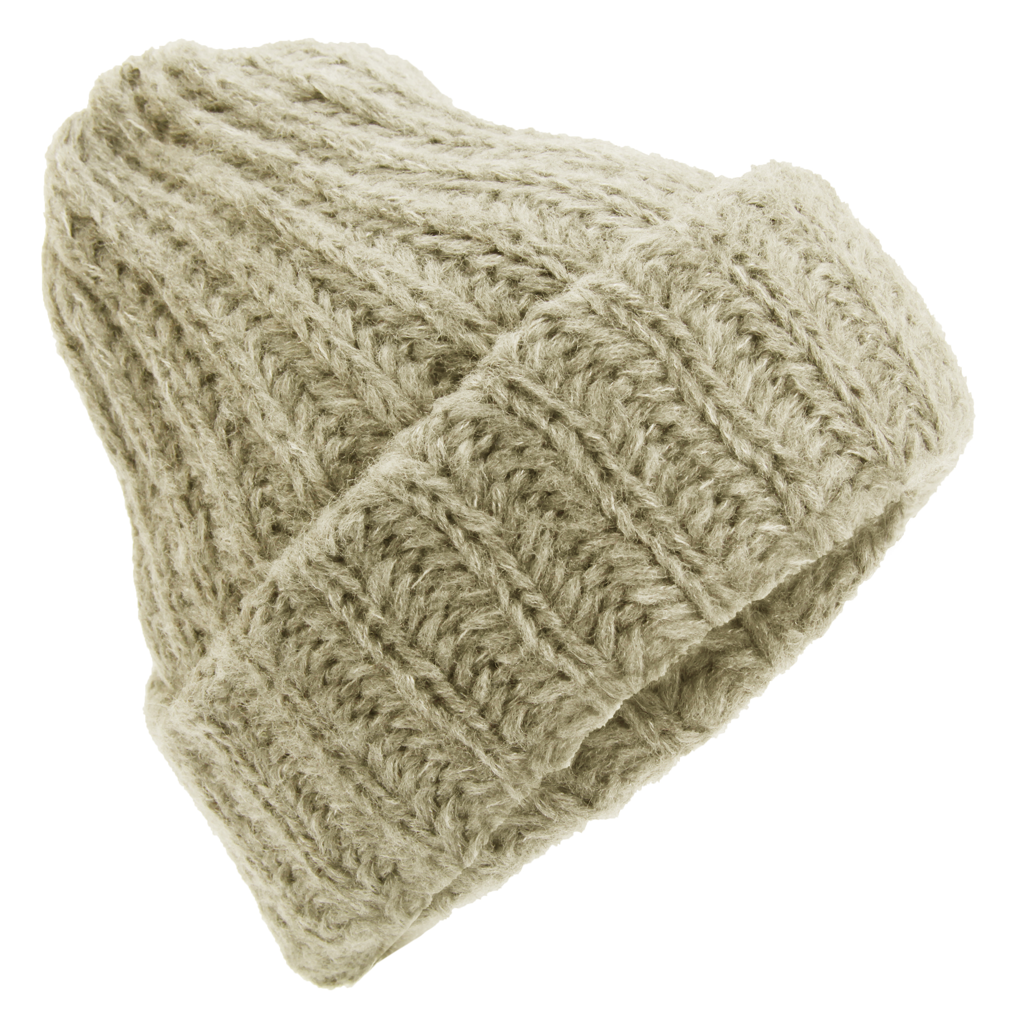 015f1ab23923b Womens Cable Knit Beanie Hat - Parchment N Lead