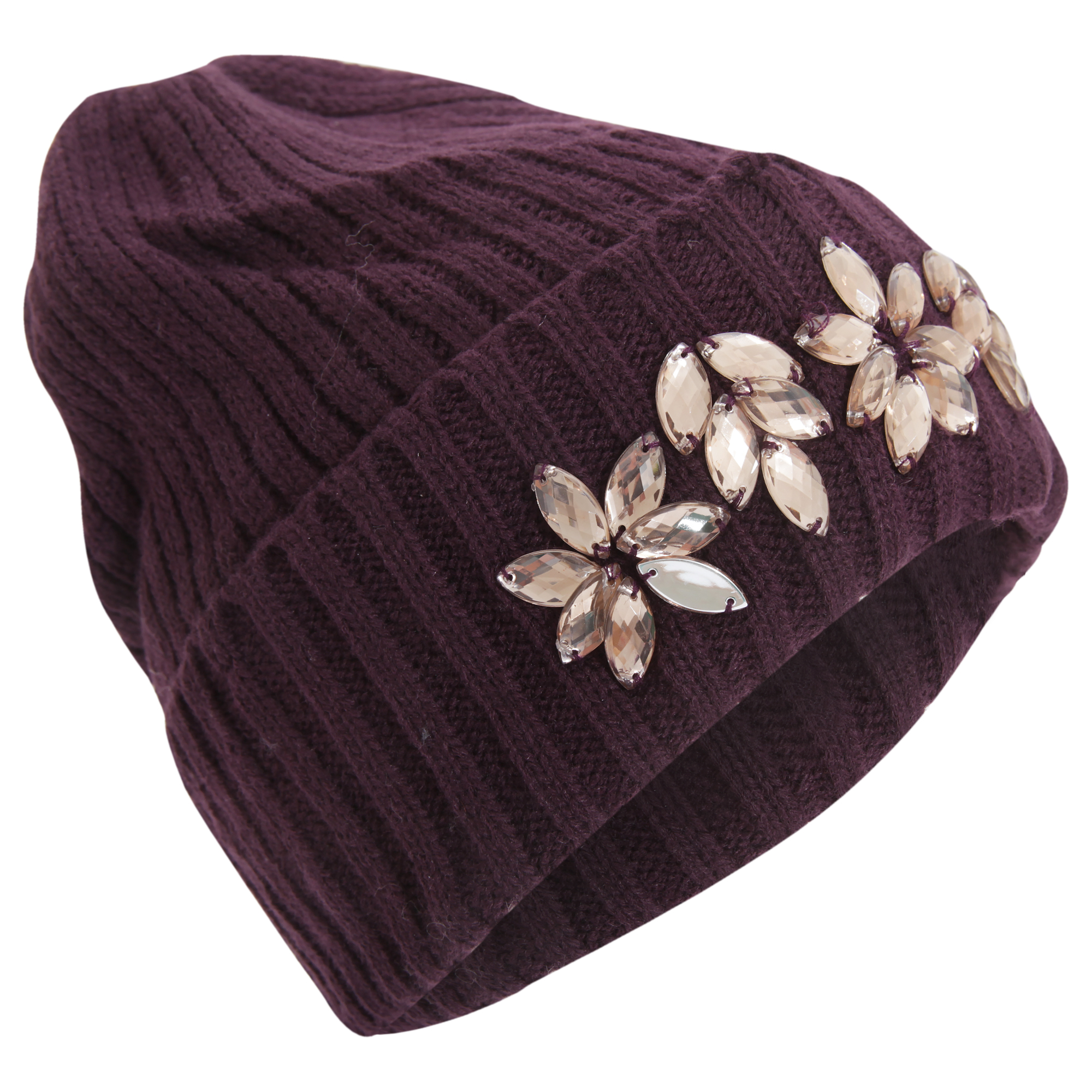 92df7172a7f Womens ladies Knitted Winter Hat With Plastic JEWEL Detail One Size ...