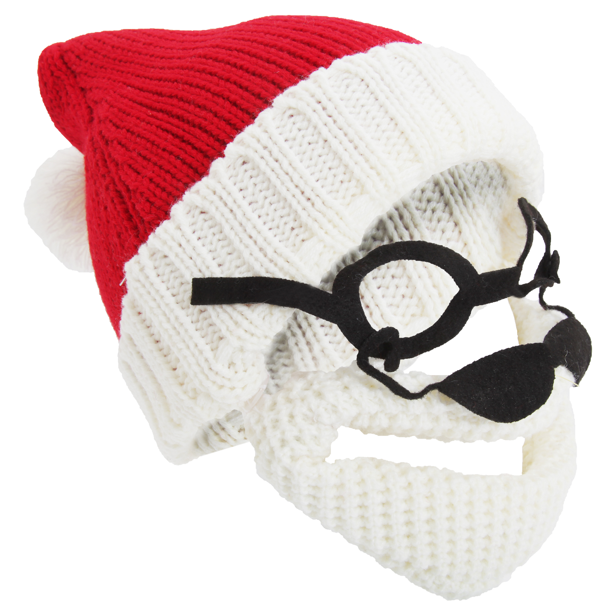 HA479 Mens Knitted Santa Claus Christmas Hat With Glasses /& Detachable Beard