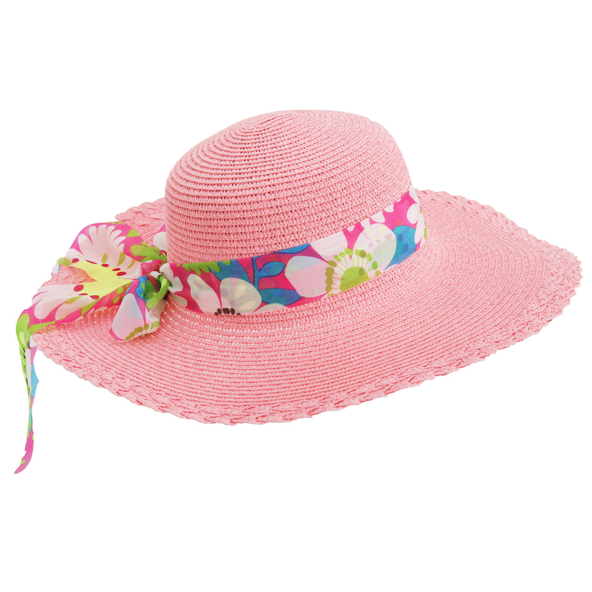 Womens Ladies Floppy Wide Brim Sun Hat With Floral Ribbon (HA523)  19f479e2eaed