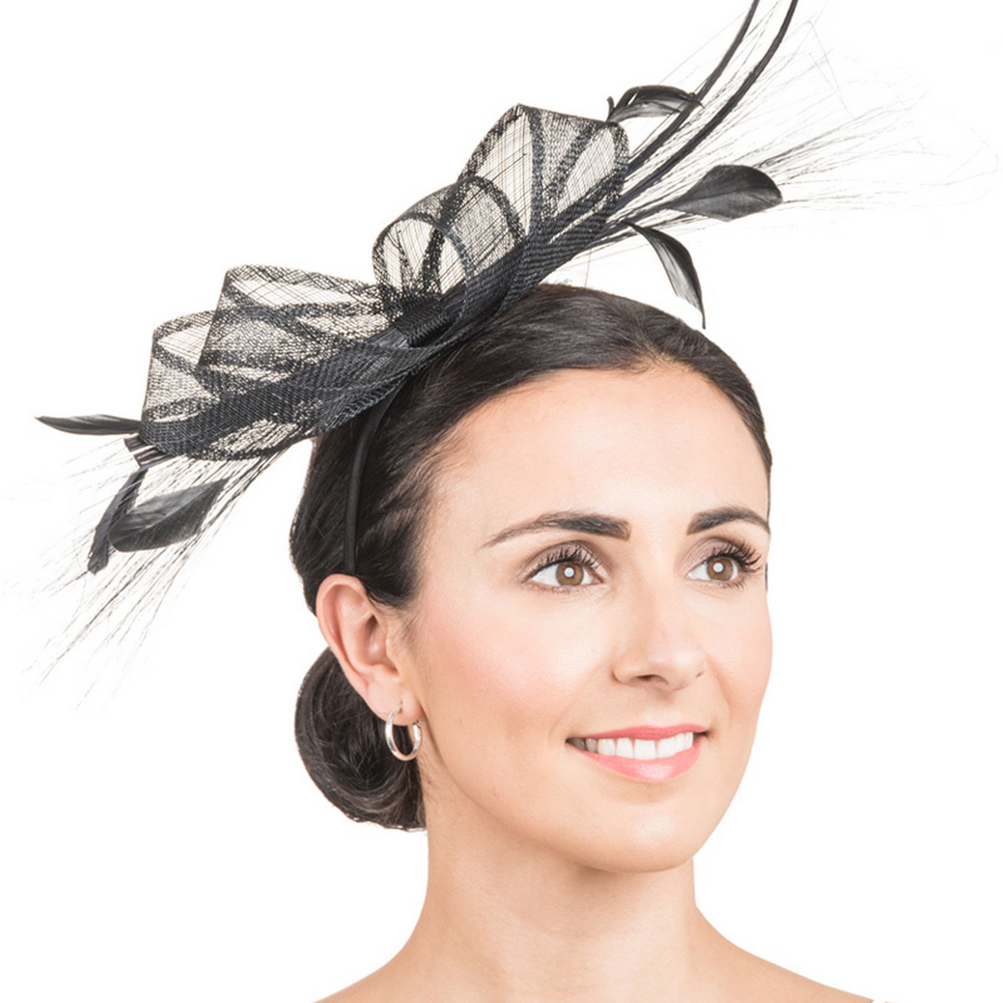 Hawkins Collection Womens/Ladies Long Feather And Bow Fascinator (One Size) (Black)