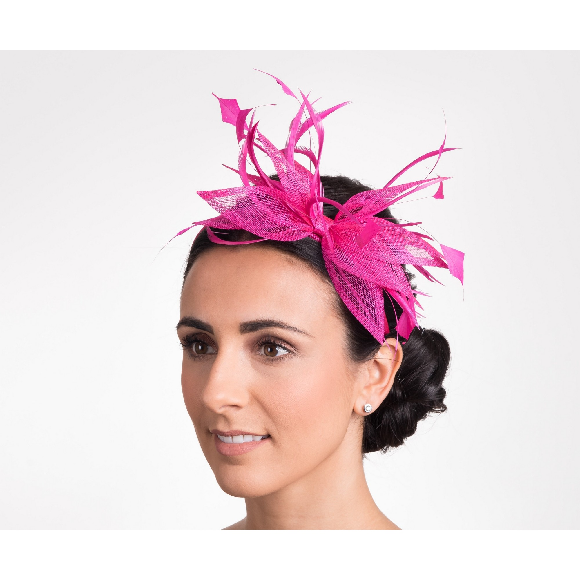 Hawkins Collection Womens/Ladies Open Bow And Thin Feather Detail Fascinator (One Size) (Raspberry)