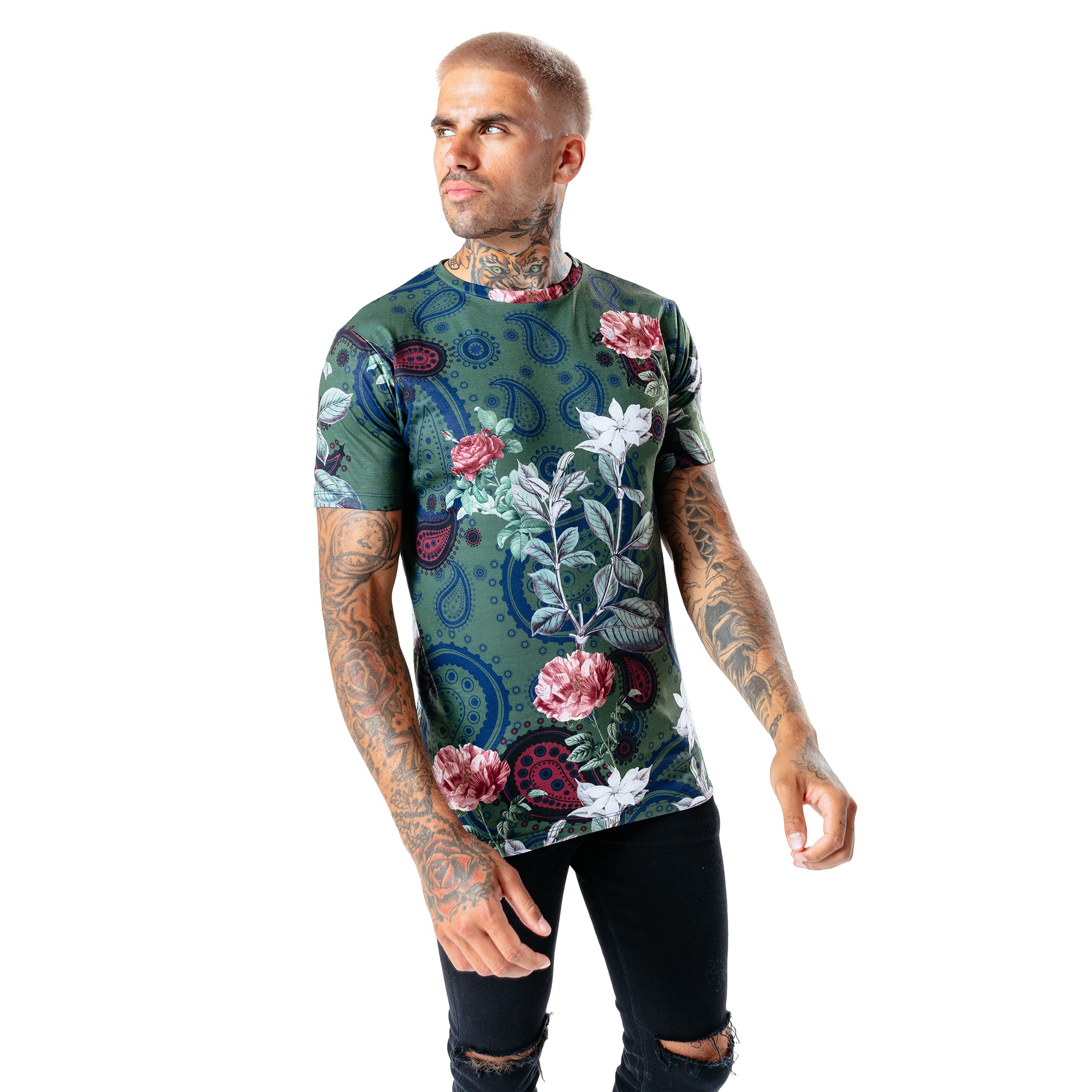 Hype Mens Field Paisley T-Shirt (XS) (Multicoloured)